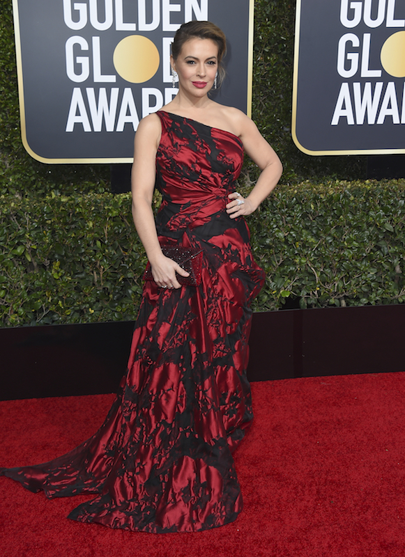 "<div class=""meta image-caption""><div class=""origin-logo origin-image ap""><span>AP</span></div><span class=""caption-text"">Alyssa Milano arrives at the 76th annual Golden Globe Awards at the Beverly Hilton Hotel on Sunday, Jan. 6, 2019, in Beverly Hills, Calif. (Jordan Strauss/Invision/AP)</span></div>"