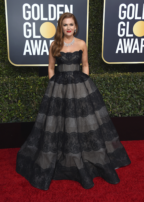 <div class='meta'><div class='origin-logo' data-origin='AP'></div><span class='caption-text' data-credit='Jordan Strauss/Invision/AP'>Isla Fisher arrives at the 76th annual Golden Globe Awards at the Beverly Hilton Hotel on Sunday, Jan. 6, 2019, in Beverly Hills, Calif.</span></div>