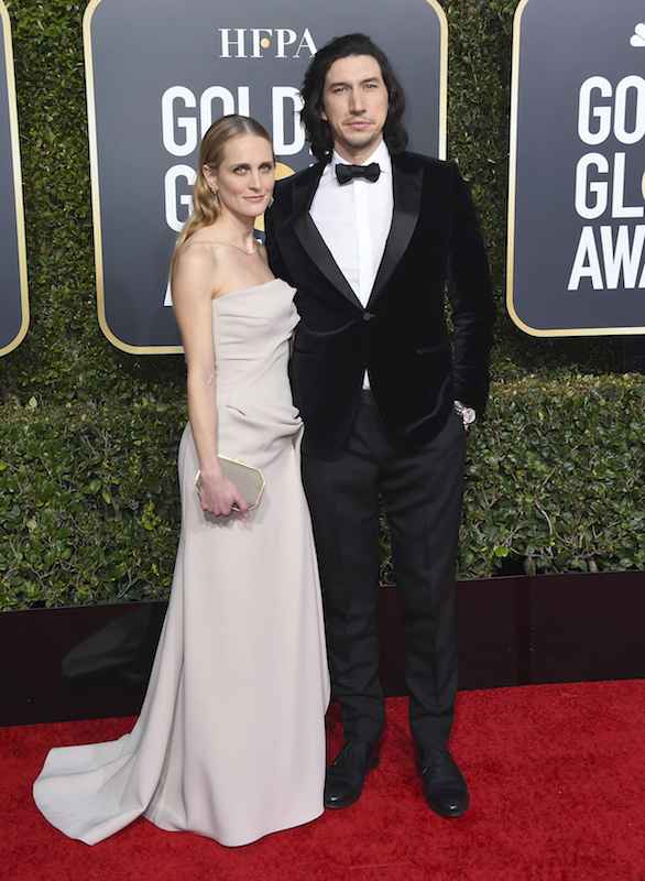 "<div class=""meta image-caption""><div class=""origin-logo origin-image ap""><span>AP</span></div><span class=""caption-text"">Joanne Tucker, left, and Adam Driver arrive at the 76th annual Golden Globe Awards at the Beverly Hilton Hotel on Sunday, Jan. 6, 2019, in Beverly Hills, Calif. (Jordan Strauss/Invision/AP)</span></div>"