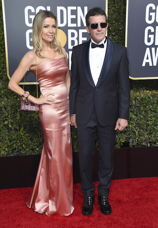 <div class='meta'><div class='origin-logo' data-origin='AP'></div><span class='caption-text' data-credit='Jordan Strauss/Invision/AP'>Nicole Kimpel, left, and Antonio Banderas arrive at the 76th annual Golden Globe Awards at the Beverly Hilton Hotel on Sunday, Jan. 6, 2019, in Beverly Hills, Calif.</span></div>