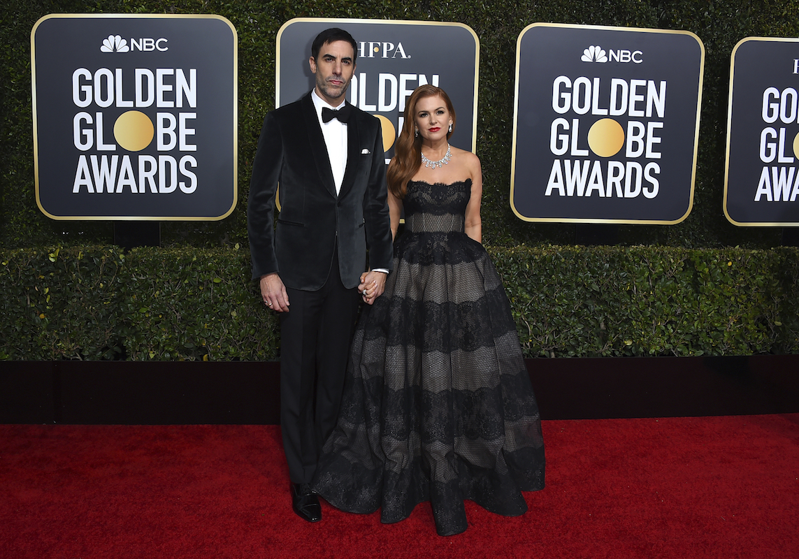 <div class='meta'><div class='origin-logo' data-origin='AP'></div><span class='caption-text' data-credit='Jordan Strauss/Invision/AP'>Sacha Baron Cohen, left, and Isla Fisher arrive at the 76th annual Golden Globe Awards at the Beverly Hilton Hotel on Sunday, Jan. 6, 2019, in Beverly Hills, Calif.</span></div>