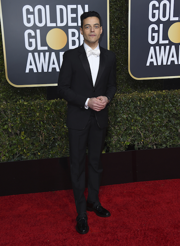 <div class='meta'><div class='origin-logo' data-origin='AP'></div><span class='caption-text' data-credit='Jordan Strauss/Invision/AP'>Rami Malek arrives at the 76th annual Golden Globe Awards at the Beverly Hilton Hotel on Sunday, Jan. 6, 2019, in Beverly Hills, Calif.</span></div>