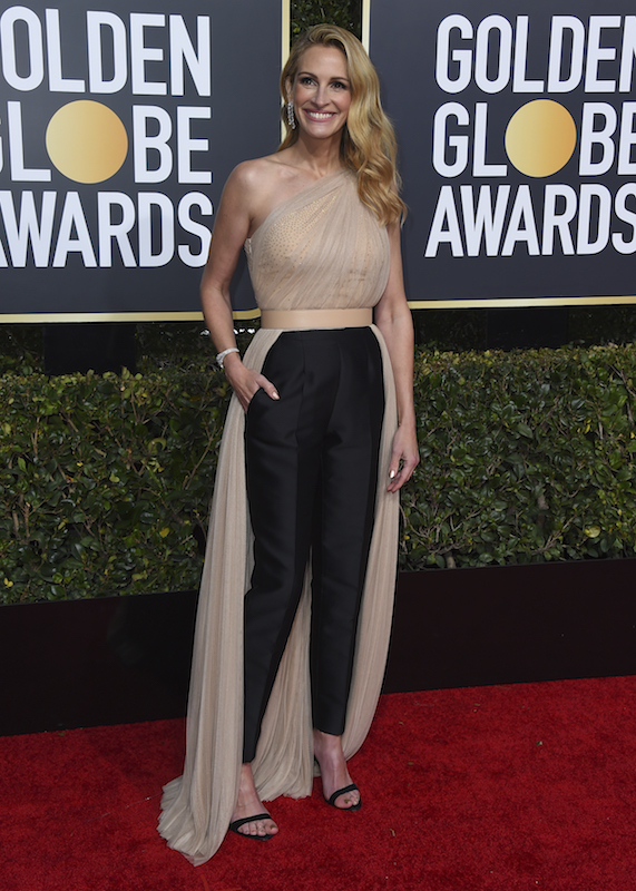 <div class='meta'><div class='origin-logo' data-origin='AP'></div><span class='caption-text' data-credit='Jordan Strauss/Invision/AP'>Julia Roberts arrives at the 76th annual Golden Globe Awards at the Beverly Hilton Hotel on Sunday, Jan. 6, 2019, in Beverly Hills, Calif.</span></div>
