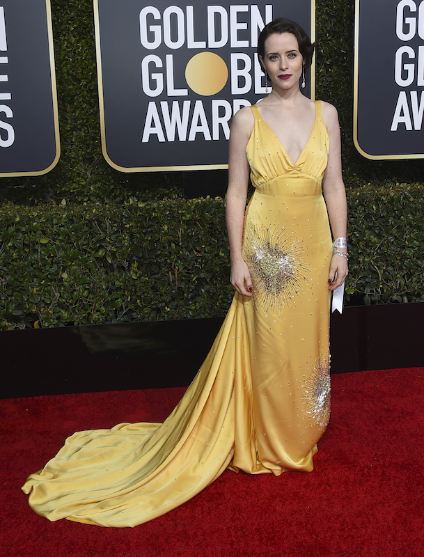 <div class='meta'><div class='origin-logo' data-origin='AP'></div><span class='caption-text' data-credit='Jordan Strauss/Invision/AP'>Claire Foy arrives at the 76th annual Golden Globe Awards at the Beverly Hilton Hotel on Sunday, Jan. 6, 2019, in Beverly Hills, Calif.</span></div>