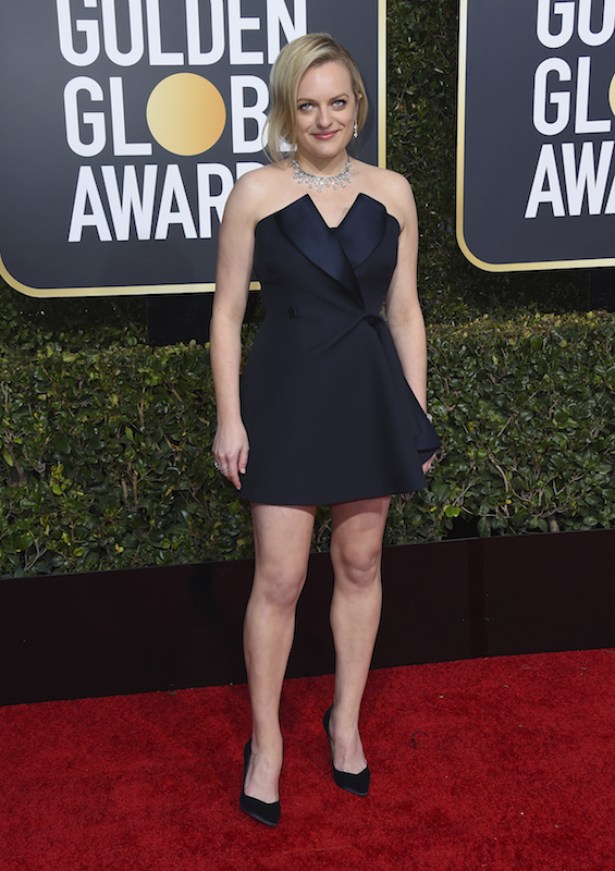 <div class='meta'><div class='origin-logo' data-origin='AP'></div><span class='caption-text' data-credit='Jordan Strauss/Invision/AP'>Elisabeth Moss arrives at the 76th annual Golden Globe Awards at the Beverly Hilton Hotel on Sunday, Jan. 6, 2019, in Beverly Hills, Calif.</span></div>