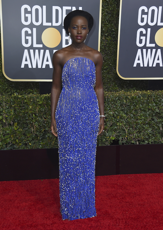 <div class='meta'><div class='origin-logo' data-origin='AP'></div><span class='caption-text' data-credit='Jordan Strauss/Invision/AP'>Lupita Nyong'o arrives at the 76th annual Golden Globe Awards at the Beverly Hilton Hotel on Sunday, Jan. 6, 2019, in Beverly Hills, Calif.</span></div>
