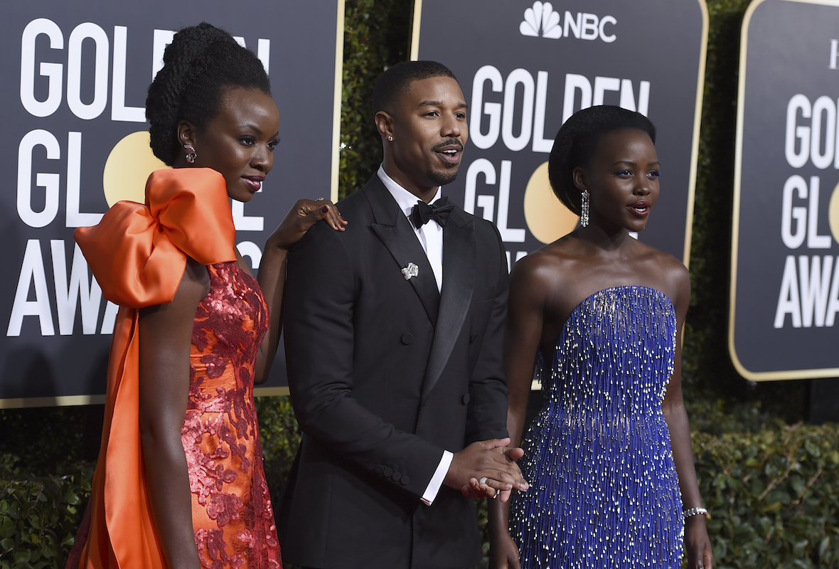 <div class='meta'><div class='origin-logo' data-origin='AP'></div><span class='caption-text' data-credit='Jordan Strauss/Invision/AP'>Danai Gurira, from left, Michael B. Jordan and Lupita Nyong'o arrive at the 76th annual Golden Globe Awards at the Beverly Hilton Hotel on Sunday, Jan. 6, 2019, in Beverly Hills.</span></div>