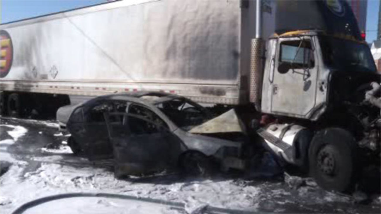 Tractor trailer, car collide in fiery Wilmington crash