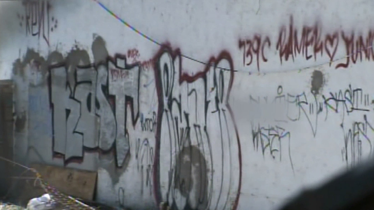 The wall of a building is covered with graffiti in Los Angeles. Council members voted to draft an ordinance that will increase vandalism fines to $2,000.