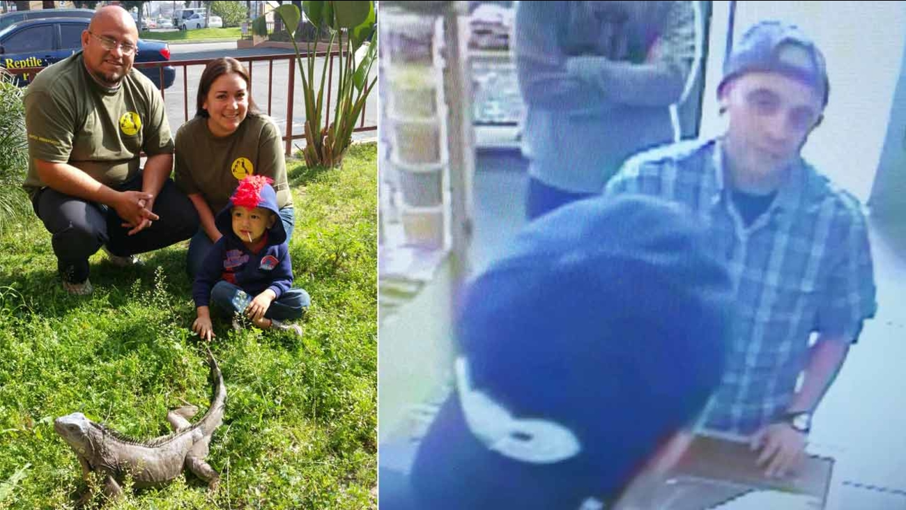 (Left) The Cepeda family of Paramount Pet Enterprise pose with Godzilla, a trained 7-year-old iguana. (Right) A surveillance image shows the man suspected of kidnapping Godzilla.