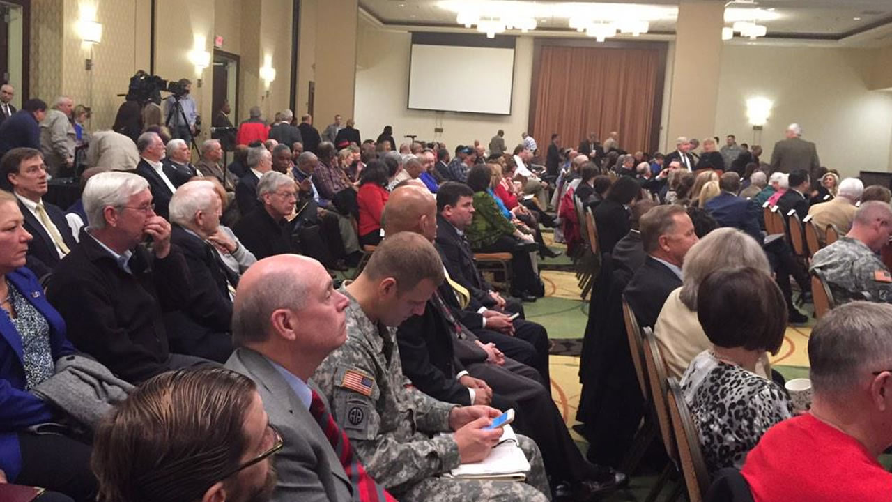 About 450 people were part of the  Fort Bragg listening session  being held at the Embassy Suites hotel in Fayetteville.