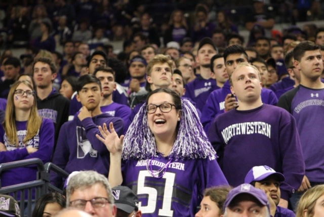 Emily Harriott, a Northwestern senior, says her closet is completely purple.