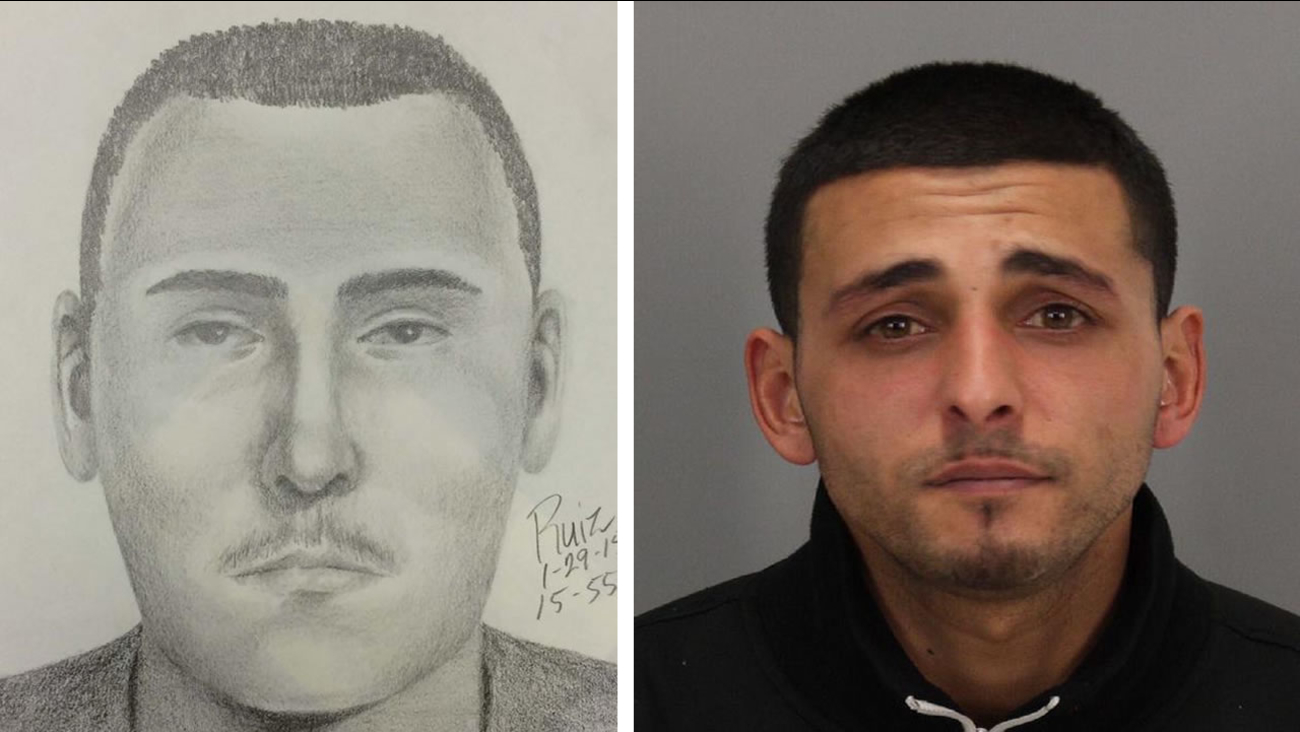 Palo Alto police release a sketch of a suspect still wanted in an armed robbery at Fry's Electronics and a photo of another suspect arrested in the case, 24-year-old Jason Fayed.