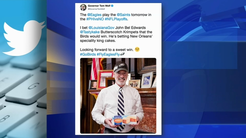Pa  Gov  Wolf makes a sweet bet on Eagles vs  Saints game