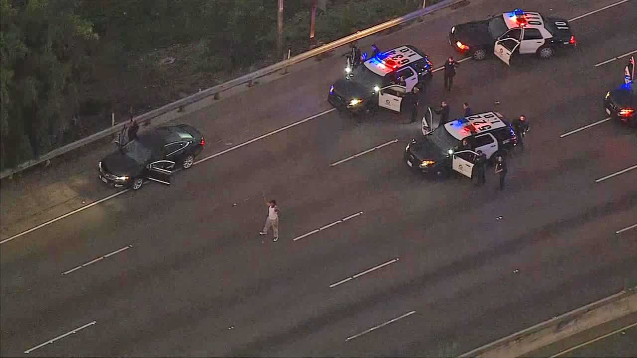 Two pursuit suspects were taken into custody on the eastbound 101 Freeway in Studio City on Friday, Feb. 6, 2015.