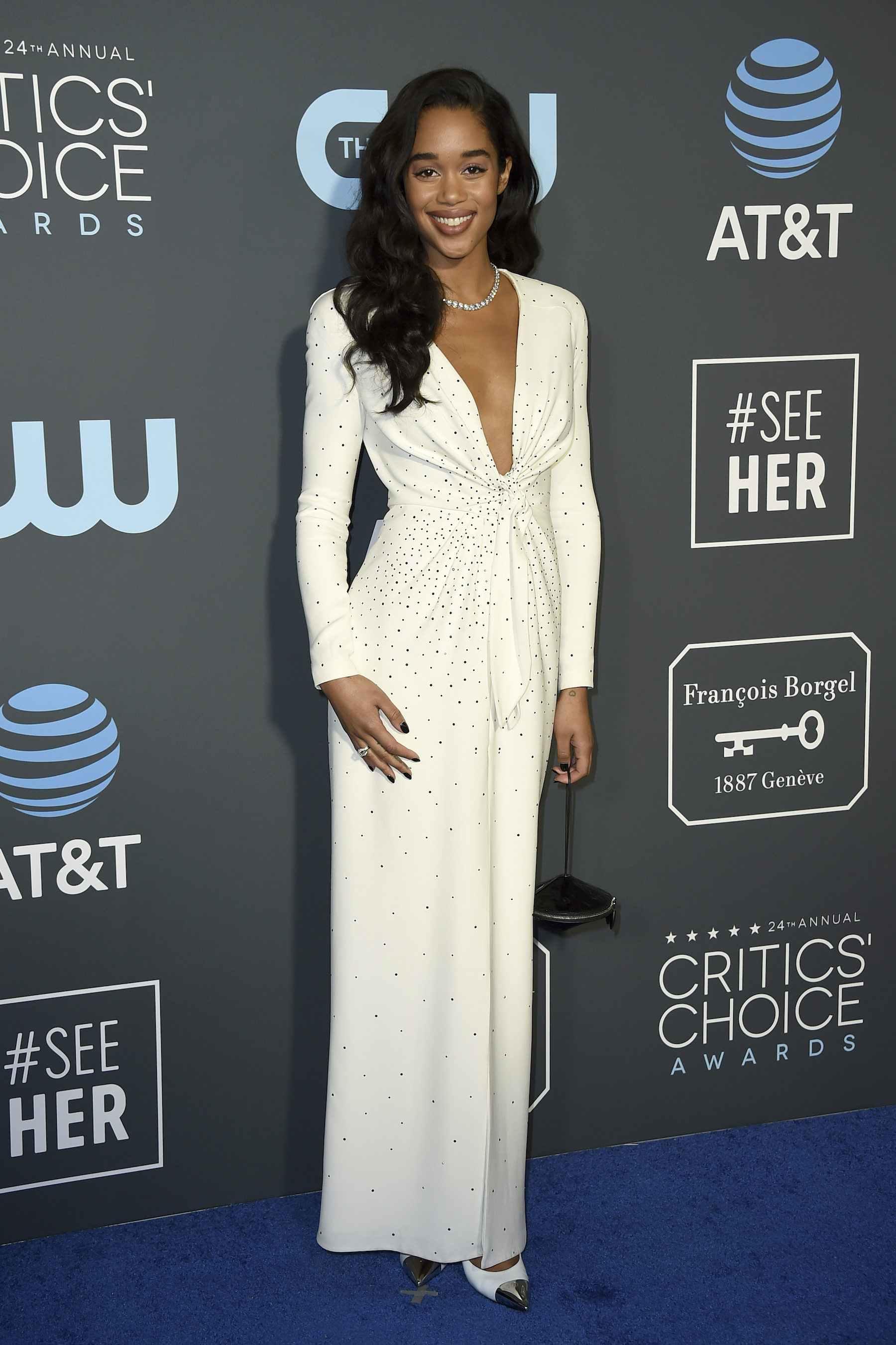 "<div class=""meta image-caption""><div class=""origin-logo origin-image ap""><span>AP</span></div><span class=""caption-text"">Laura Harrier arrives at the 24th annual Critics' Choice Awards on Sunday, Jan. 13, 2019, at the Barker Hangar in Santa Monica, Calif. (Jordan Strauss/Invision/AP)</span></div>"
