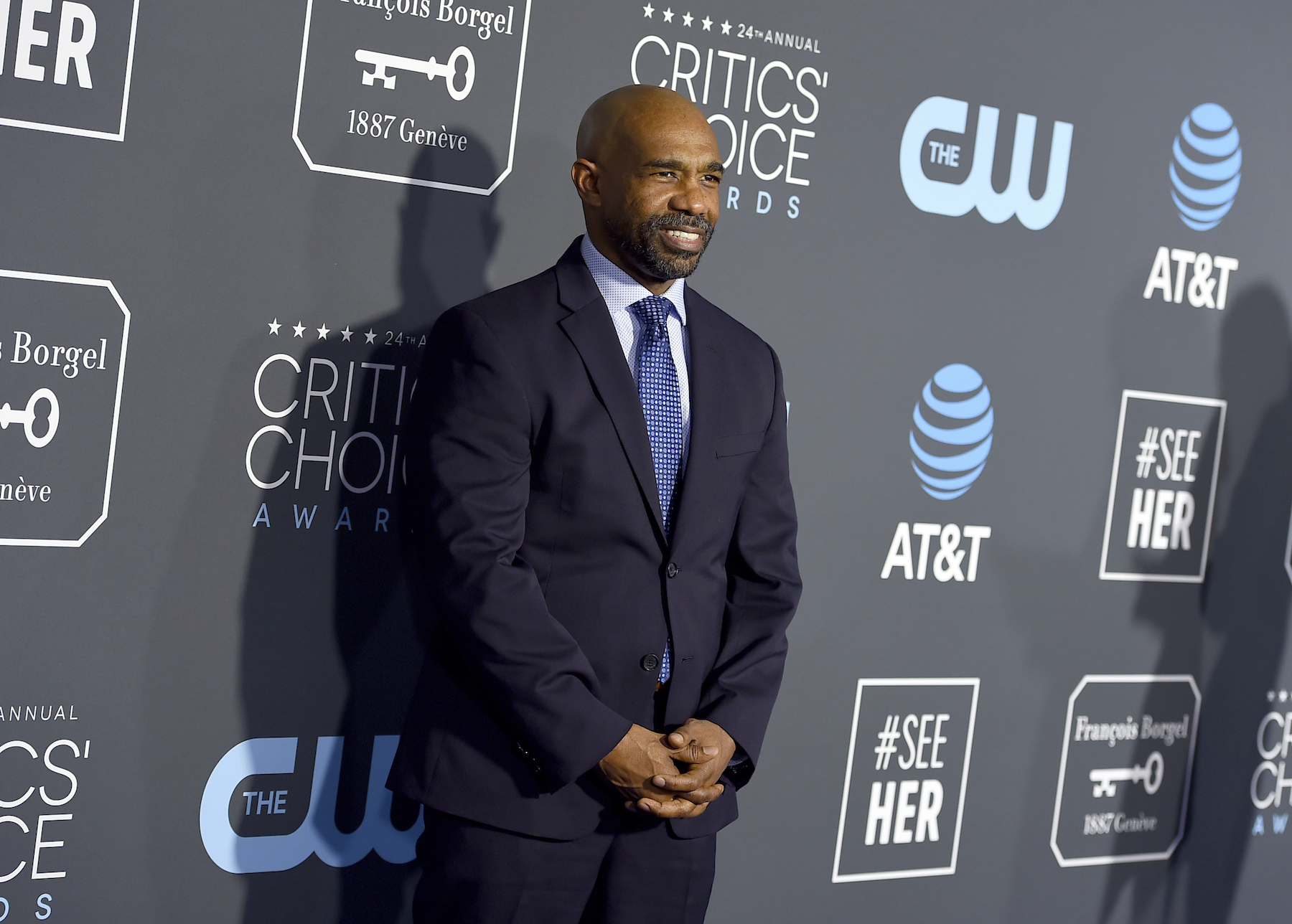 <div class='meta'><div class='origin-logo' data-origin='AP'></div><span class='caption-text' data-credit='Jordan Strauss/Invision/AP'>Michael Beach arrives at the 24th annual Critics' Choice Awards on Sunday, Jan. 13, 2019, at the Barker Hangar in Santa Monica, Calif.</span></div>