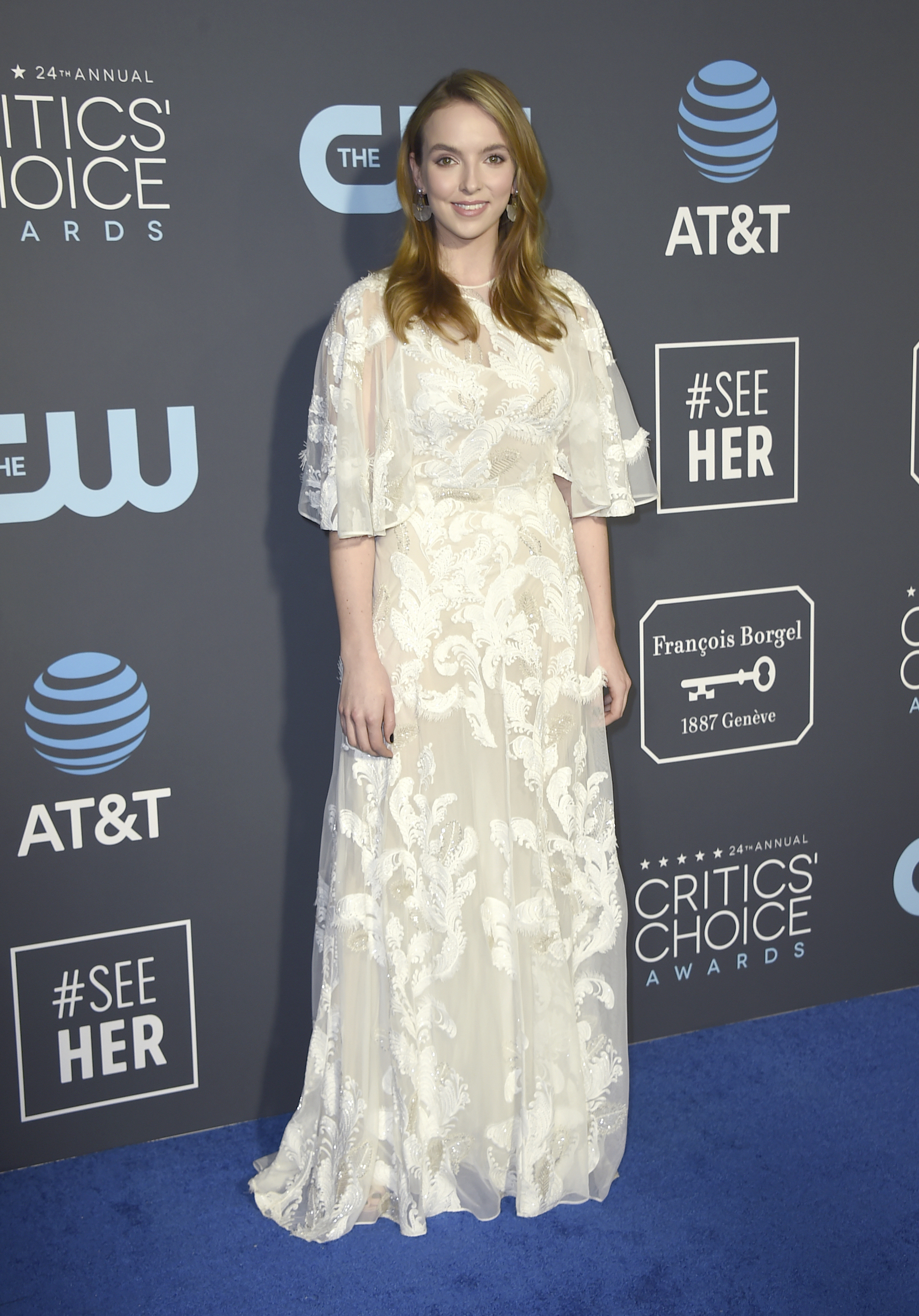 <div class='meta'><div class='origin-logo' data-origin='AP'></div><span class='caption-text' data-credit='Jordan Strauss/Invision/AP'>Jodie Comer arrives at the 24th annual Critics' Choice Awards on Sunday, Jan. 13, 2019, at the Barker Hangar in Santa Monica, Calif.</span></div>
