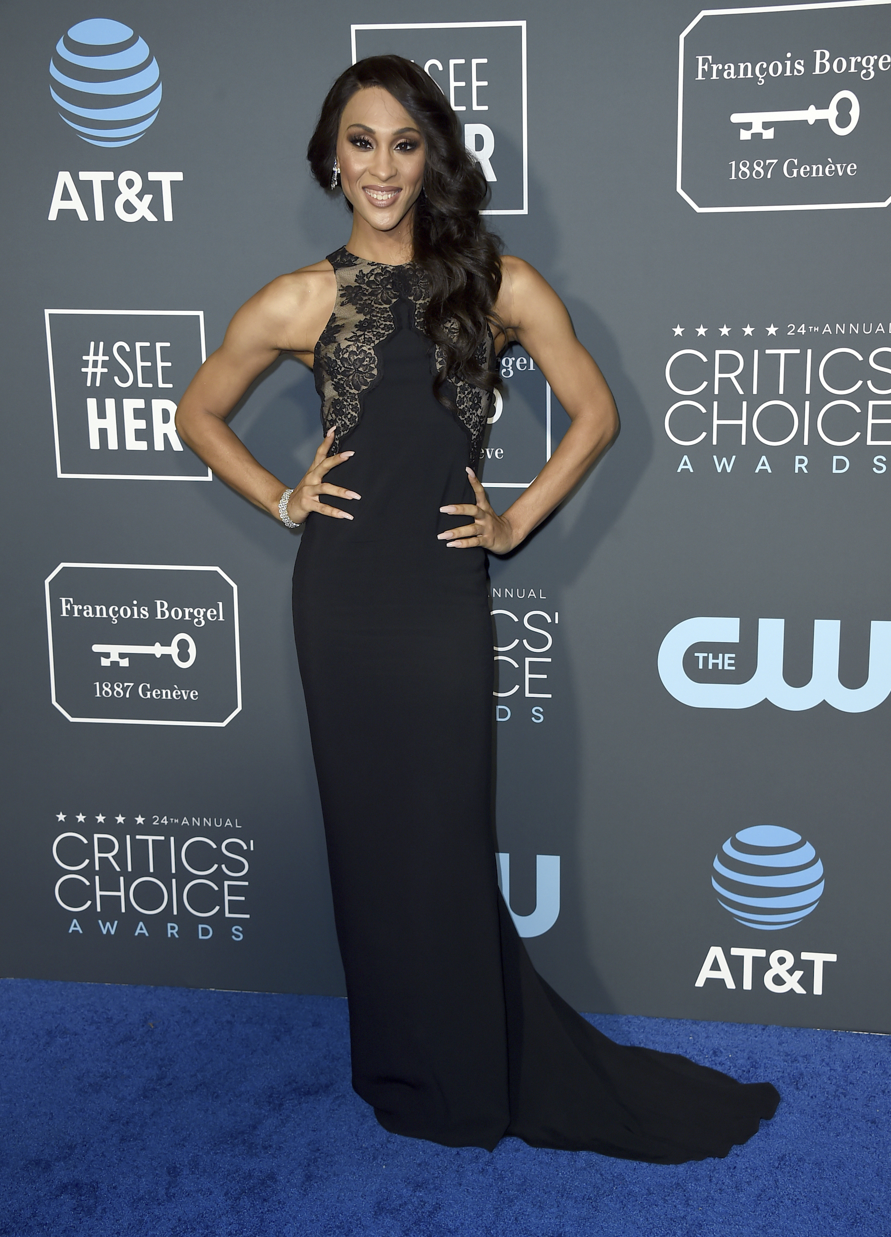<div class='meta'><div class='origin-logo' data-origin='AP'></div><span class='caption-text' data-credit='Jordan Strauss/Invision/AP'>Mj Rodriguez arrives at the 24th annual Critics' Choice Awards on Sunday, Jan. 13, 2019, at the Barker Hangar in Santa Monica, Calif.</span></div>