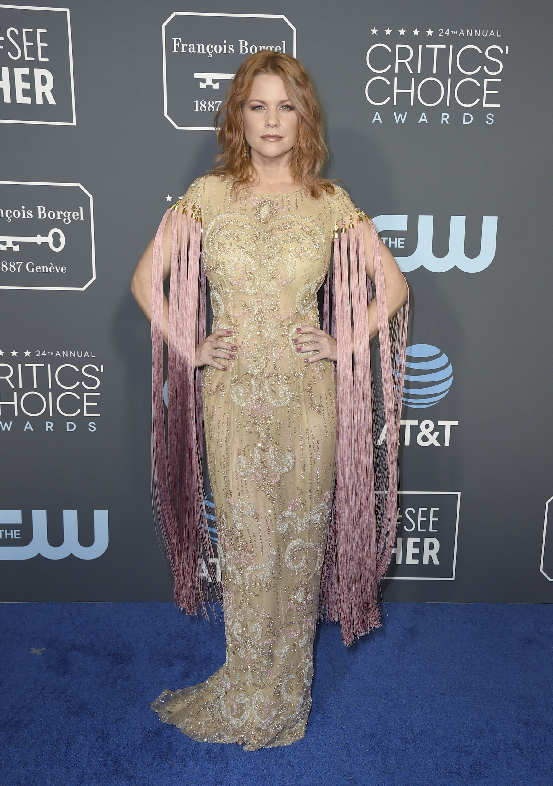 <div class='meta'><div class='origin-logo' data-origin='AP'></div><span class='caption-text' data-credit='Jordan Strauss/Invision/AP'>Carrie Keagan arrives at the 24th annual Critics' Choice Awards on Sunday, Jan. 13, 2019, at the Barker Hangar in Santa Monica, Calif.</span></div>
