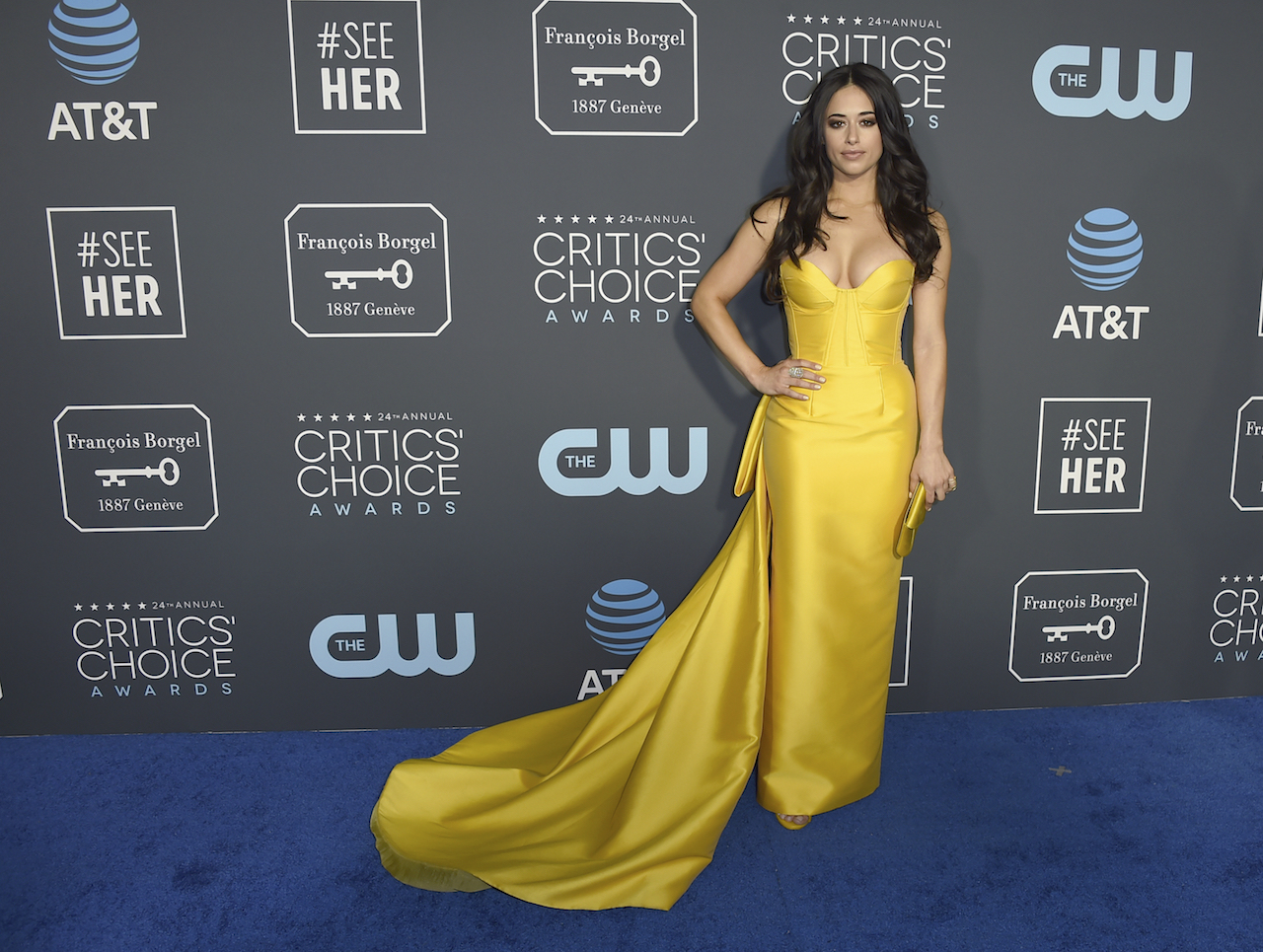 <div class='meta'><div class='origin-logo' data-origin='AP'></div><span class='caption-text' data-credit='Jordan Strauss/Invision/AP'>Jeanine Mason arrives at the 24th annual Critics' Choice Awards on Sunday, Jan. 13, 2019, at the Barker Hangar in Santa Monica, Calif.</span></div>