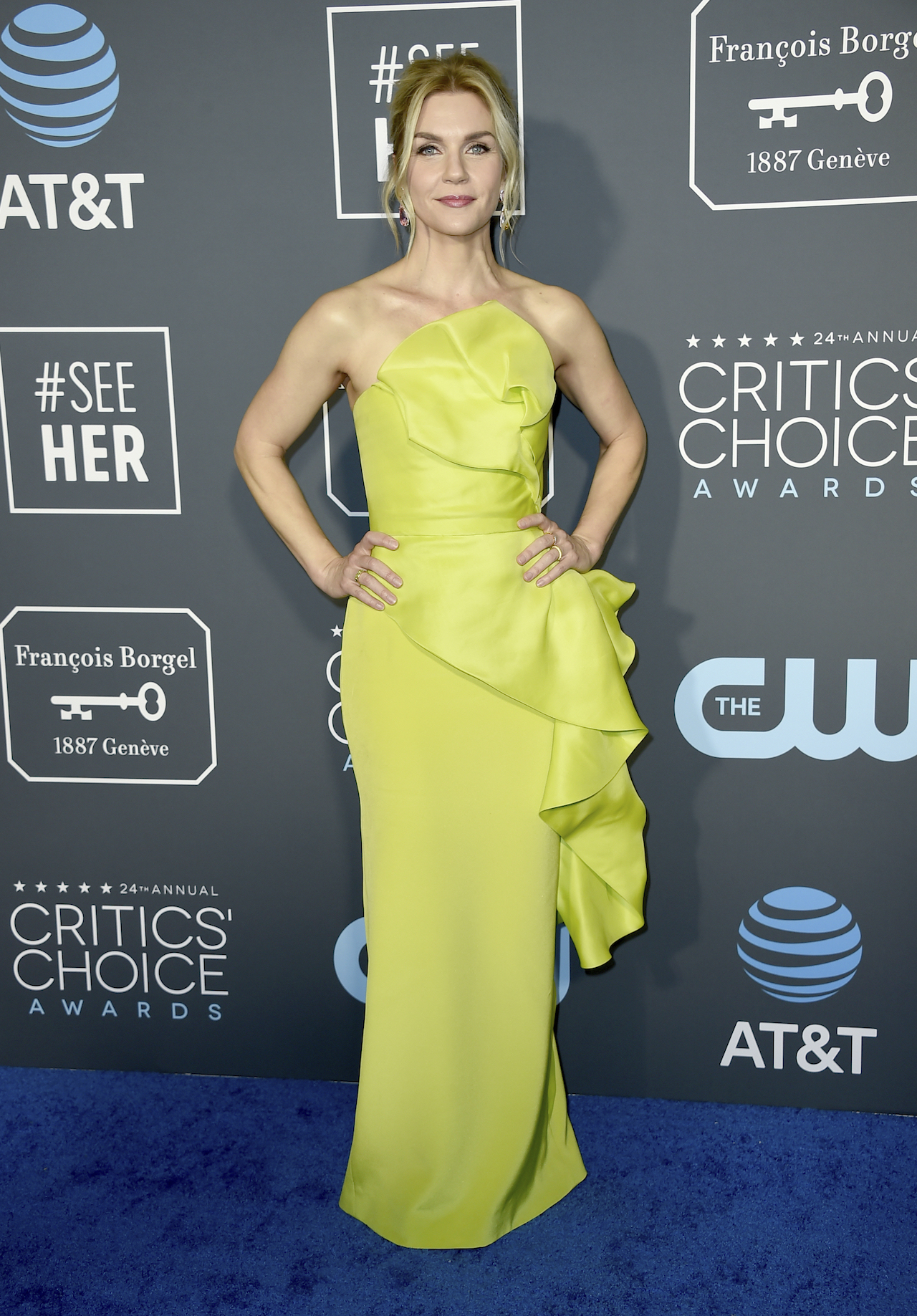 <div class='meta'><div class='origin-logo' data-origin='AP'></div><span class='caption-text' data-credit='Jordan Strauss/Invision/AP'>Rhea Seehorn arrives at the 24th annual Critics' Choice Awards on Sunday, Jan. 13, 2019, at the Barker Hangar in Santa Monica, Calif.</span></div>
