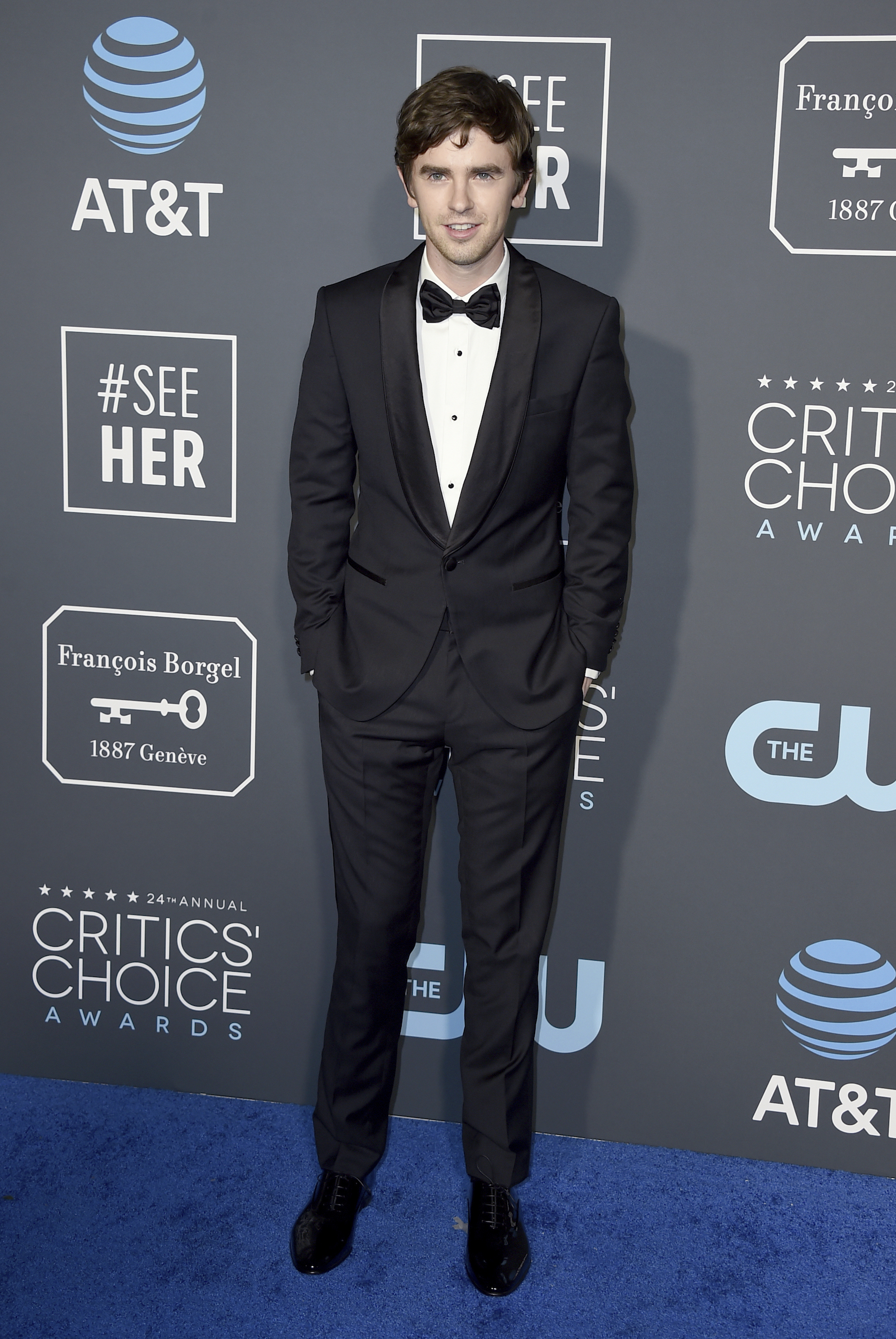 <div class='meta'><div class='origin-logo' data-origin='AP'></div><span class='caption-text' data-credit='Jordan Strauss/Invision/AP'>Freddie Highmore arrives at the 24th annual Critics' Choice Awards on Sunday, Jan. 13, 2019, at the Barker Hangar in Santa Monica, Calif.</span></div>
