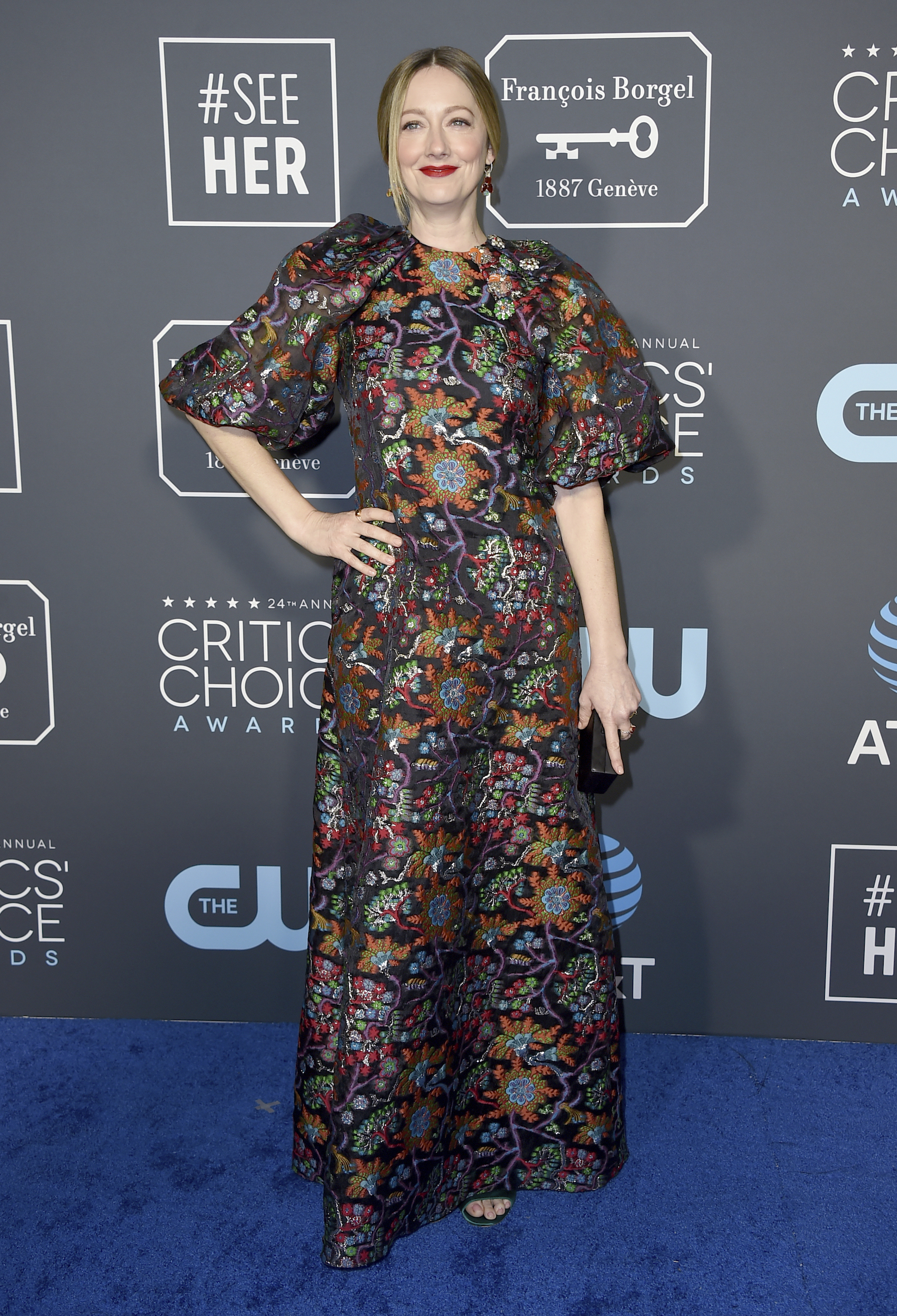 <div class='meta'><div class='origin-logo' data-origin='AP'></div><span class='caption-text' data-credit='Jordan Strauss/Invision/AP'>Judy Greer arrives at the 24th annual Critics' Choice Awards on Sunday, Jan. 13, 2019, at the Barker Hangar in Santa Monica, Calif.</span></div>