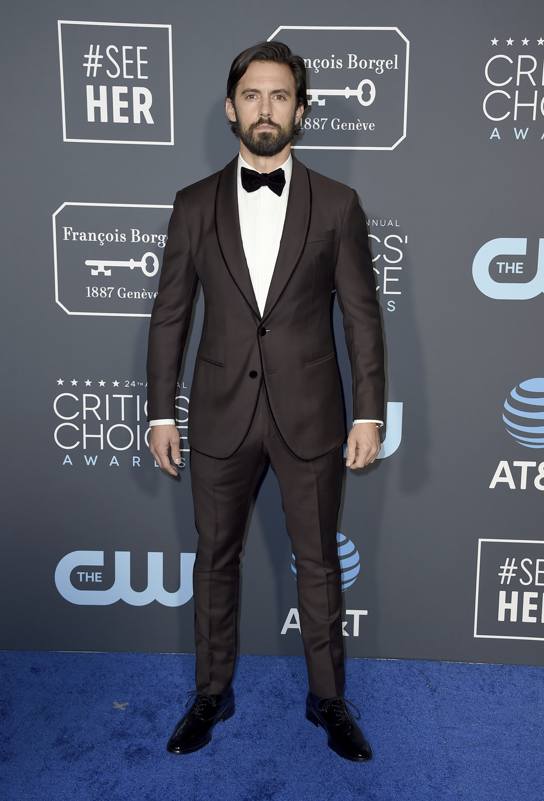 <div class='meta'><div class='origin-logo' data-origin='AP'></div><span class='caption-text' data-credit='Jordan Strauss/Invision/AP'>Milo Ventimiglia arrives at the 24th annual Critics' Choice Awards on Sunday, Jan. 13, 2019, at the Barker Hangar in Santa Monica, Calif.</span></div>