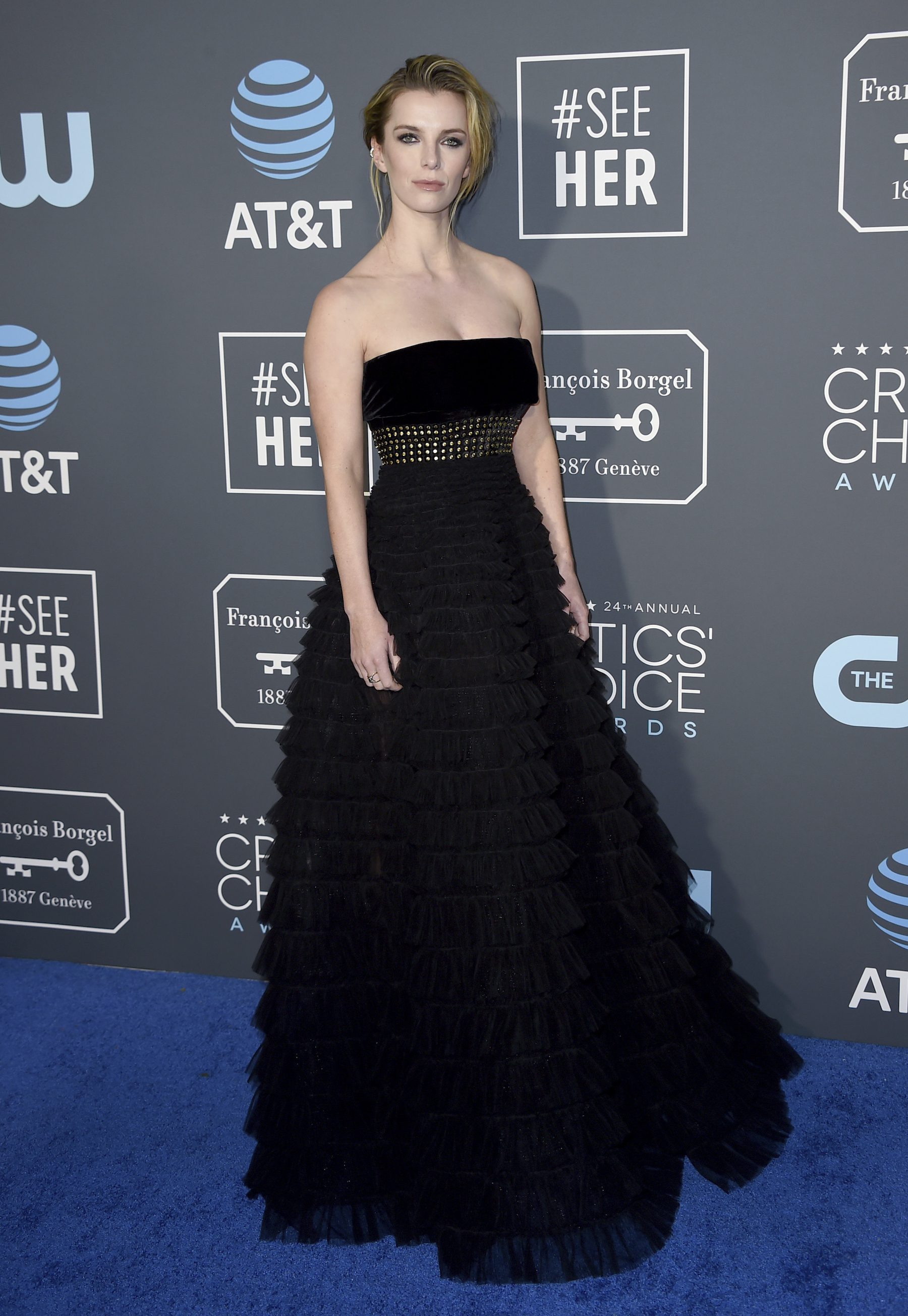 <div class='meta'><div class='origin-logo' data-origin='AP'></div><span class='caption-text' data-credit='Jordan Strauss/Invision/AP'>Betty Gilpin arrives at the 24th annual Critics' Choice Awards on Sunday, Jan. 13, 2019, at the Barker Hangar in Santa Monica, Calif.</span></div>