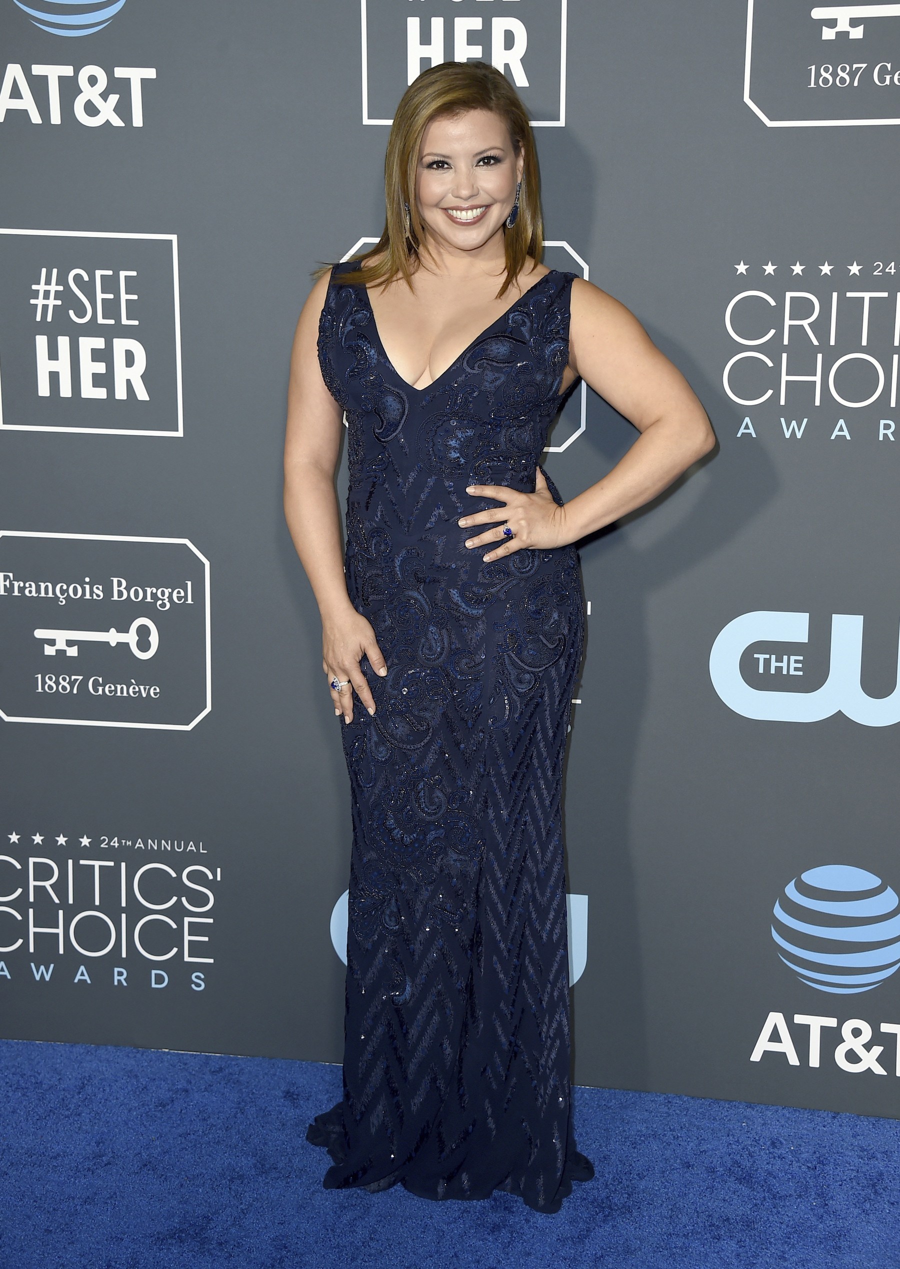 <div class='meta'><div class='origin-logo' data-origin='AP'></div><span class='caption-text' data-credit='Jordan Strauss/Invision/AP'>Justina Machado arrives at the 24th annual Critics' Choice Awards on Sunday, Jan. 13, 2019, at the Barker Hangar in Santa Monica, Calif.</span></div>