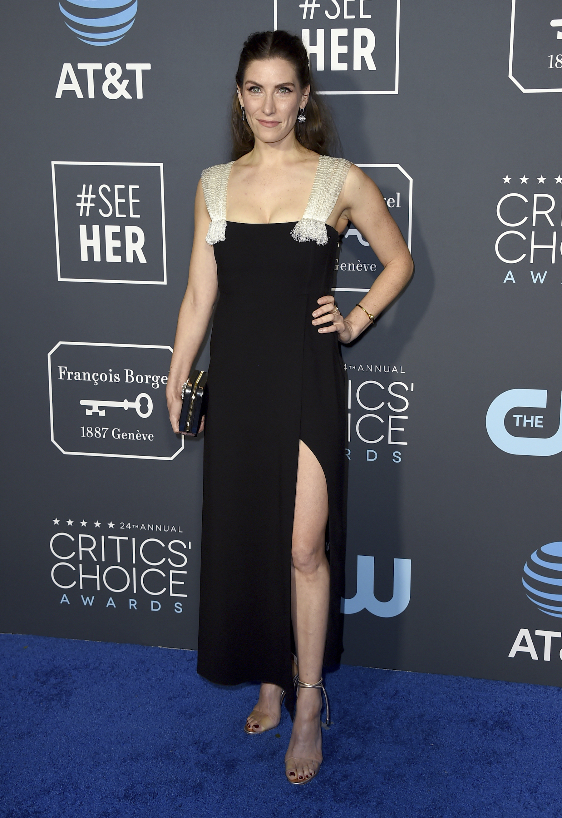 <div class='meta'><div class='origin-logo' data-origin='AP'></div><span class='caption-text' data-credit='Jordan Strauss/Invision/AP'>Sarah Levy arrives at the 24th annual Critics' Choice Awards on Sunday, Jan. 13, 2019, at the Barker Hangar in Santa Monica, Calif.</span></div>