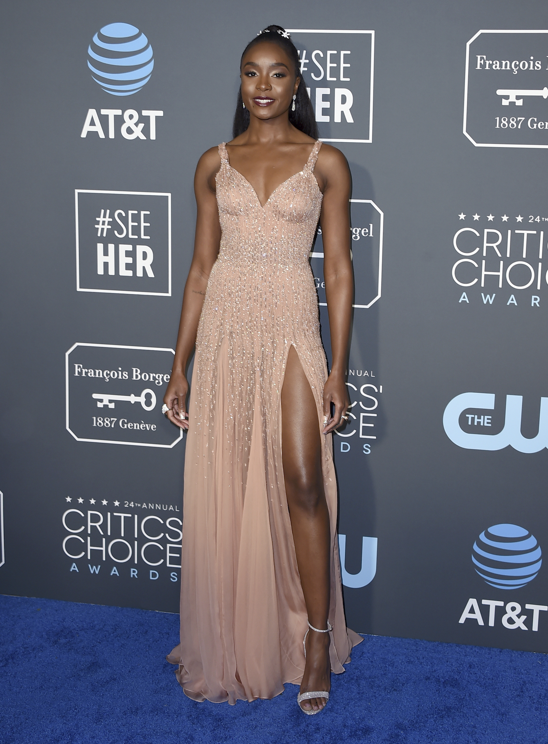 <div class='meta'><div class='origin-logo' data-origin='AP'></div><span class='caption-text' data-credit='Jordan Strauss/Invision/AP'>KiKi Layne arrives at the 24th annual Critics' Choice Awards on Sunday, Jan. 13, 2019, at the Barker Hangar in Santa Monica, Calif.</span></div>