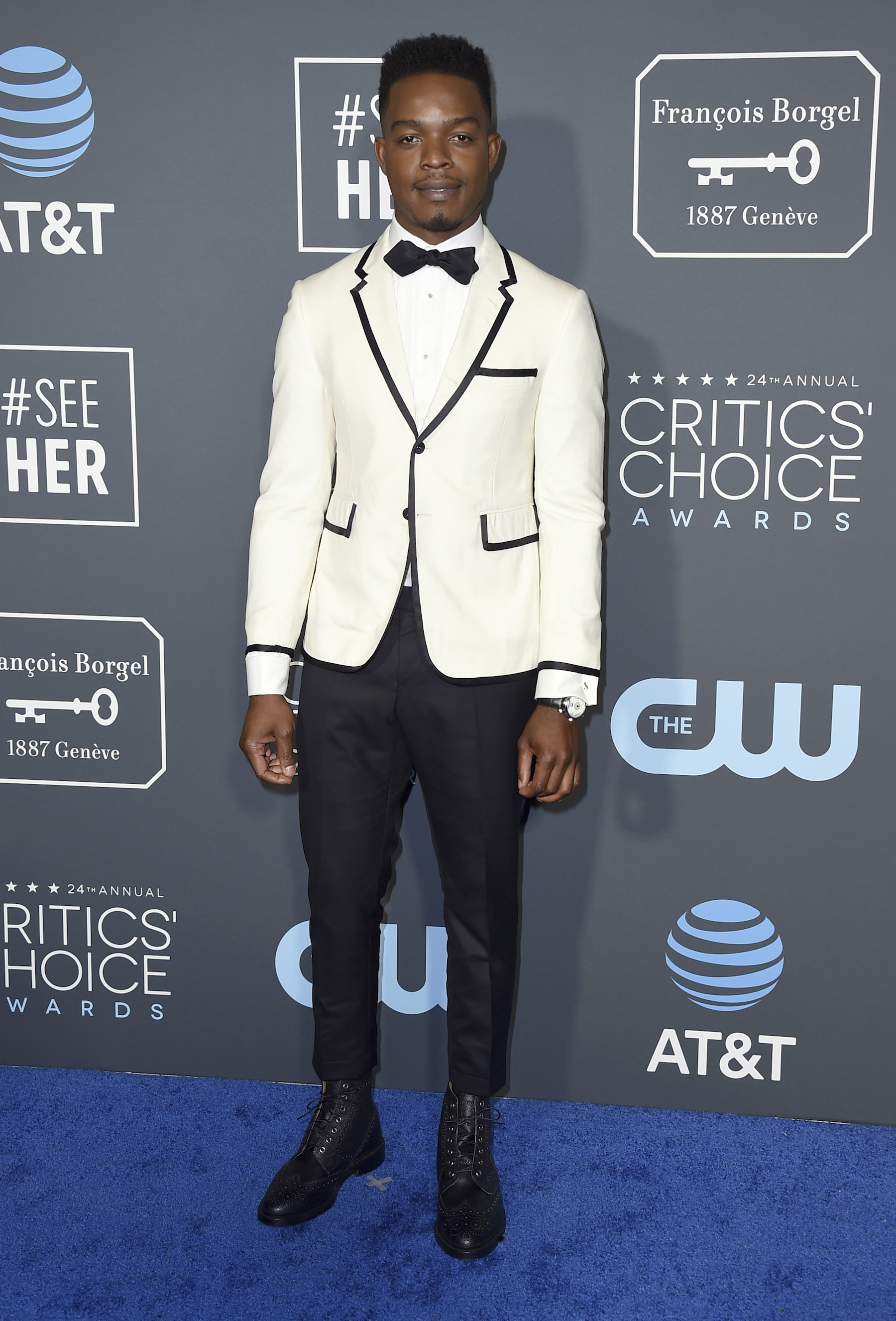 "<div class=""meta image-caption""><div class=""origin-logo origin-image ap""><span>AP</span></div><span class=""caption-text"">Stephan James arrives at the 24th annual Critics' Choice Awards on Sunday, Jan. 13, 2019, at the Barker Hangar in Santa Monica, Calif. (Jordan Strauss/Invision/AP)</span></div>"