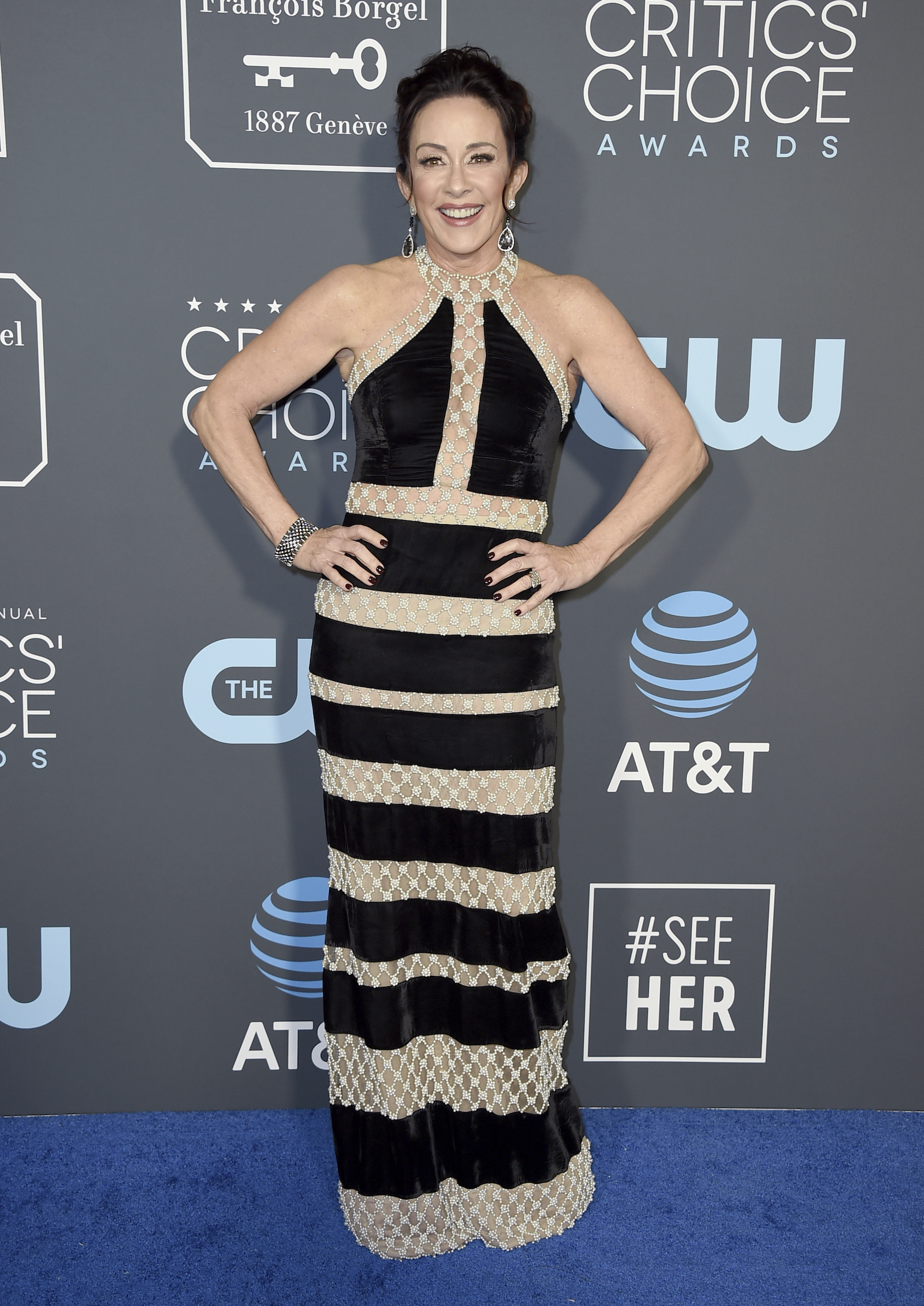 <div class='meta'><div class='origin-logo' data-origin='AP'></div><span class='caption-text' data-credit='Jordan Strauss/Invision/AP'>Patricia Heaton arrives at the 24th annual Critics' Choice Awards on Sunday, Jan. 13, 2019, at the Barker Hangar in Santa Monica, Calif.</span></div>