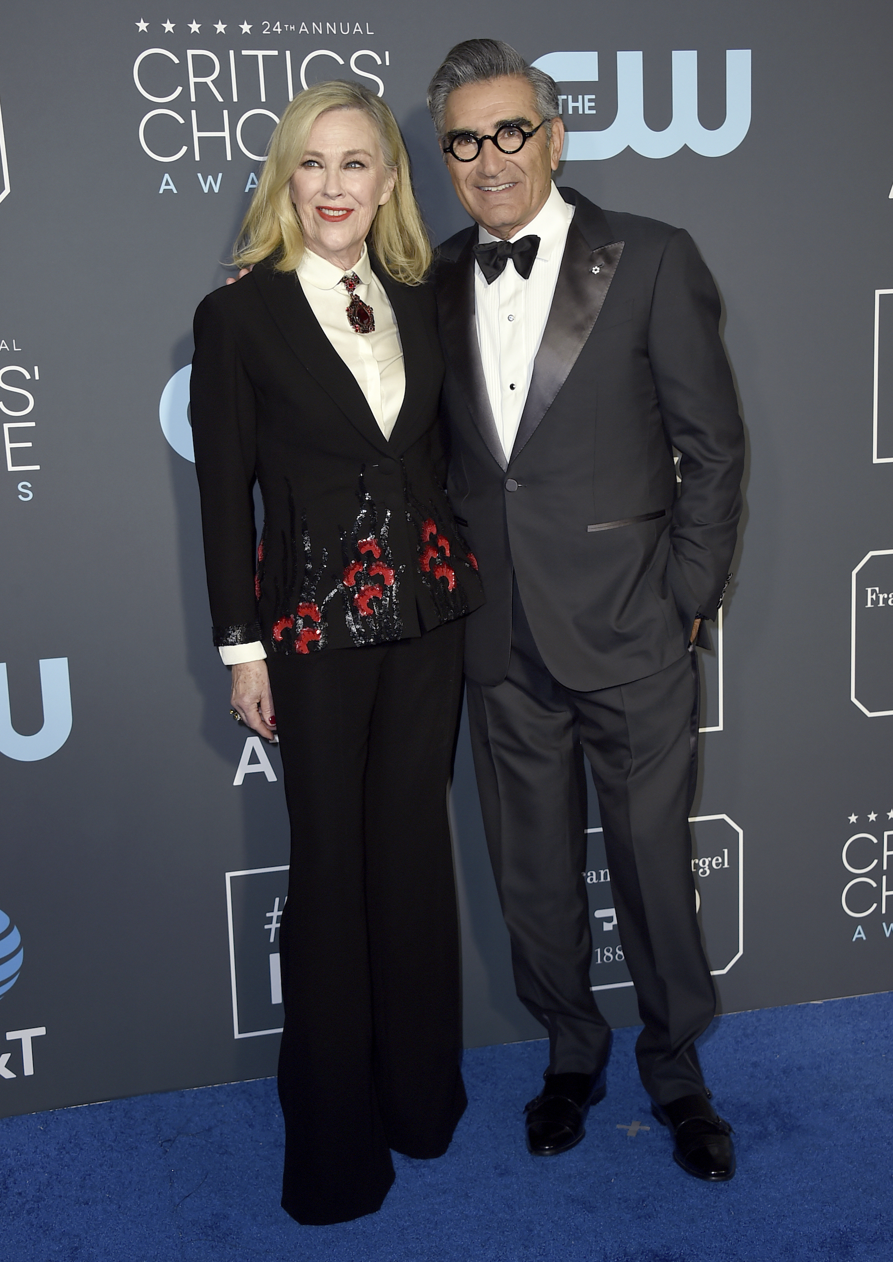 "<div class=""meta image-caption""><div class=""origin-logo origin-image ap""><span>AP</span></div><span class=""caption-text"">Catherine O'Hara, left, and Eugene Levy arrive at the 24th annual Critics' Choice Awards on Sunday, Jan. 13, 2019, at the Barker Hangar in Santa Monica, Calif. (Jordan Strauss/Invision/AP)</span></div>"