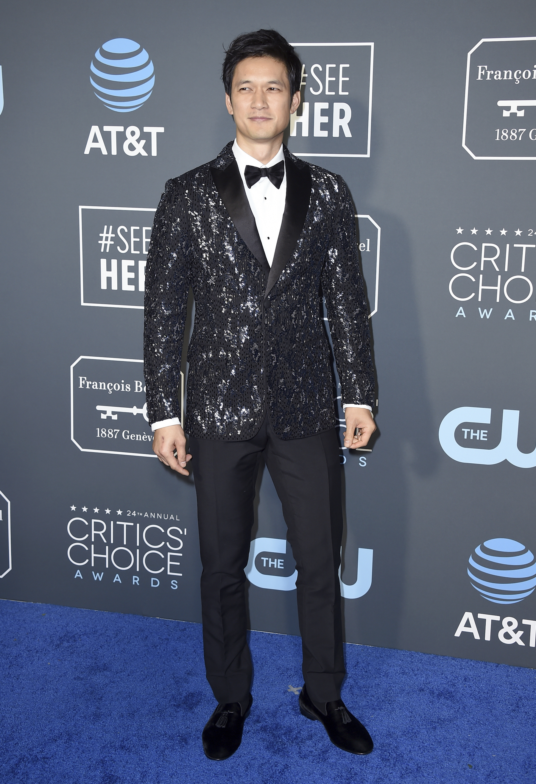 <div class='meta'><div class='origin-logo' data-origin='AP'></div><span class='caption-text' data-credit='Jordan Strauss/Invision/AP'>Harry Shum Jr. arrives at the 24th annual Critics' Choice Awards on Sunday, Jan. 13, 2019, at the Barker Hangar in Santa Monica, Calif.</span></div>