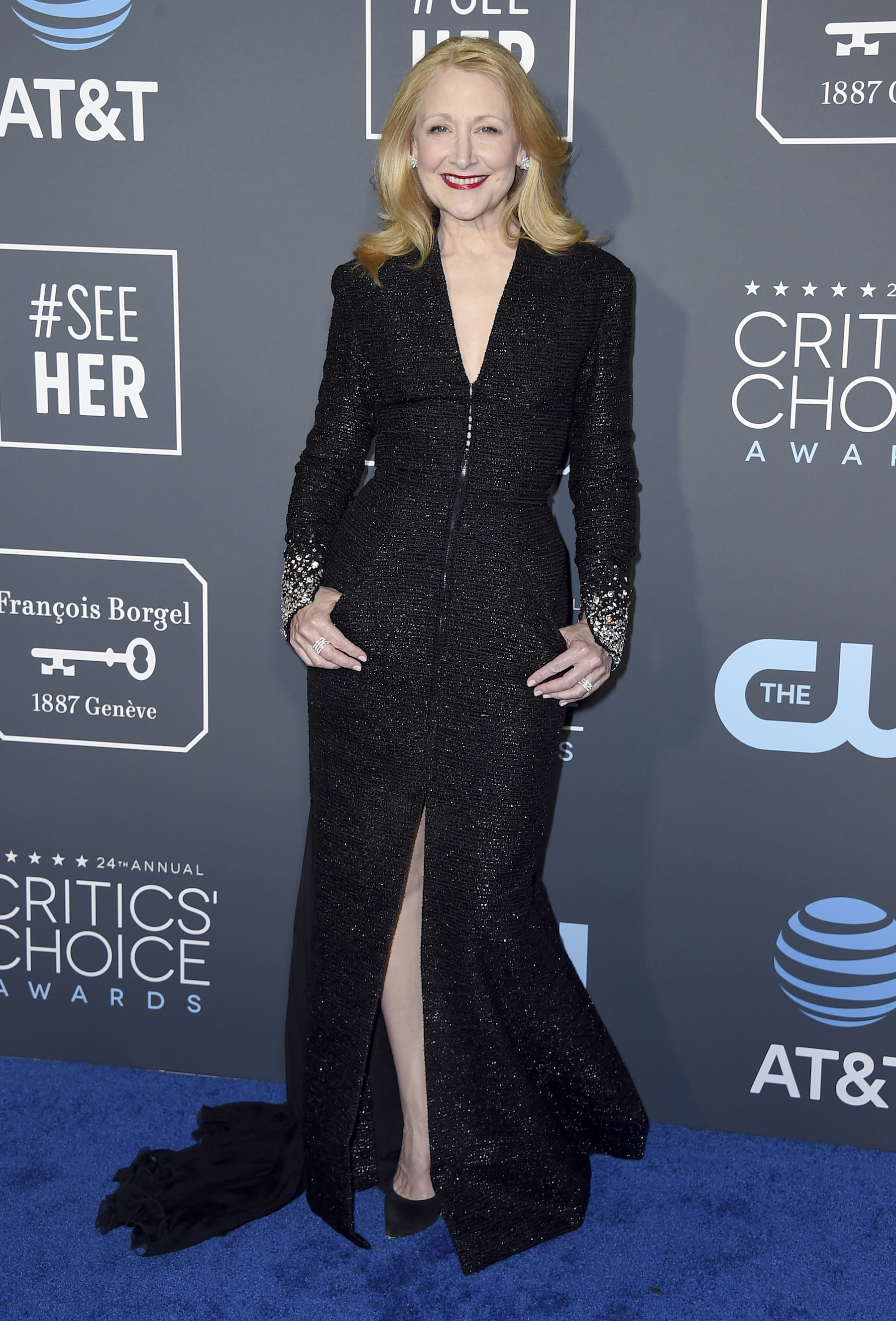 <div class='meta'><div class='origin-logo' data-origin='AP'></div><span class='caption-text' data-credit='Jordan Strauss/Invision/AP'>Patricia Clarkson arrives at the 24th annual Critics' Choice Awards on Sunday, Jan. 13, 2019, at the Barker Hangar in Santa Monica, Calif.</span></div>