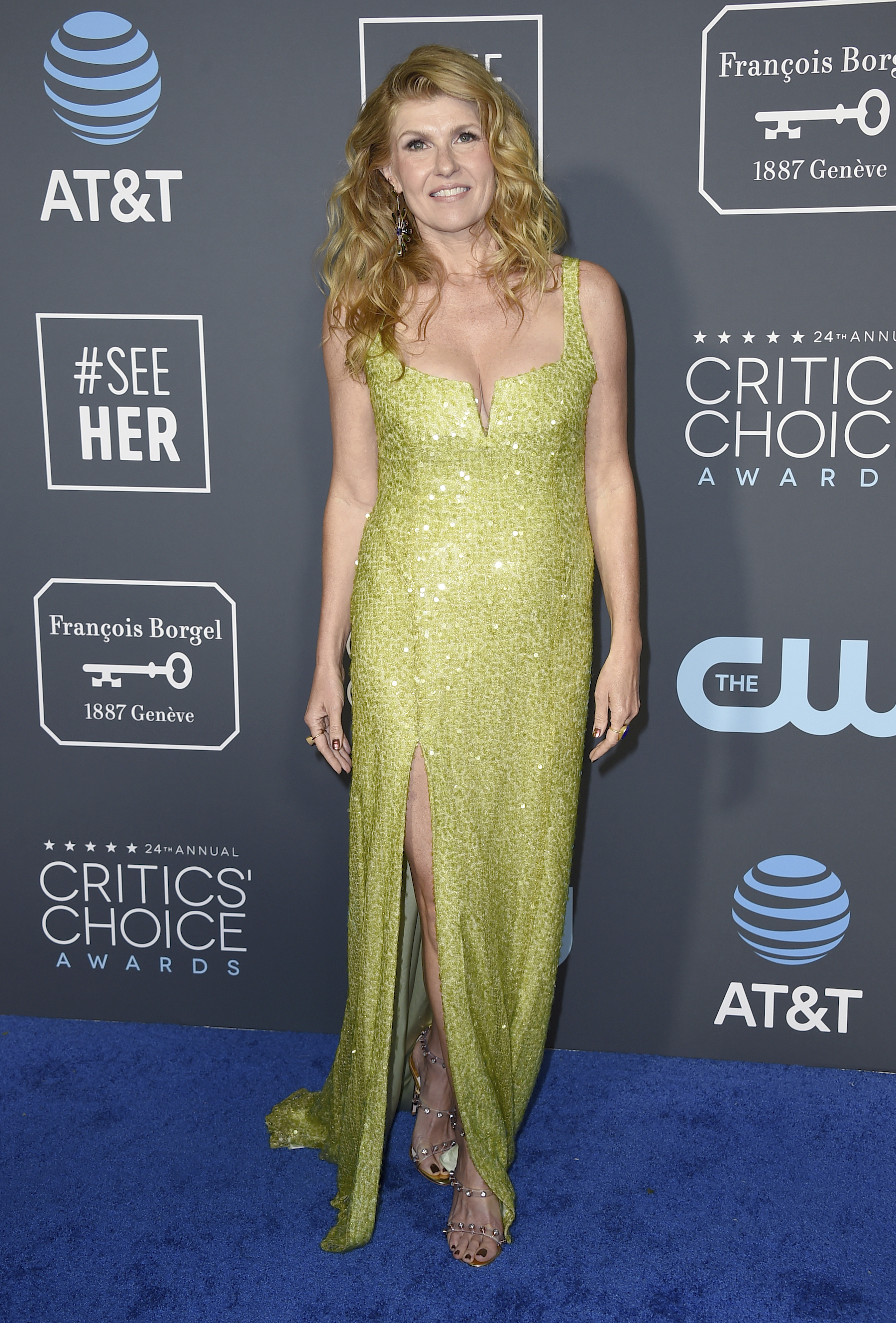 <div class='meta'><div class='origin-logo' data-origin='AP'></div><span class='caption-text' data-credit='Jordan Strauss/Invision/AP'>Connie Britton arrives at the 24th annual Critics' Choice Awards on Sunday, Jan. 13, 2019, at the Barker Hangar in Santa Monica, Calif.</span></div>
