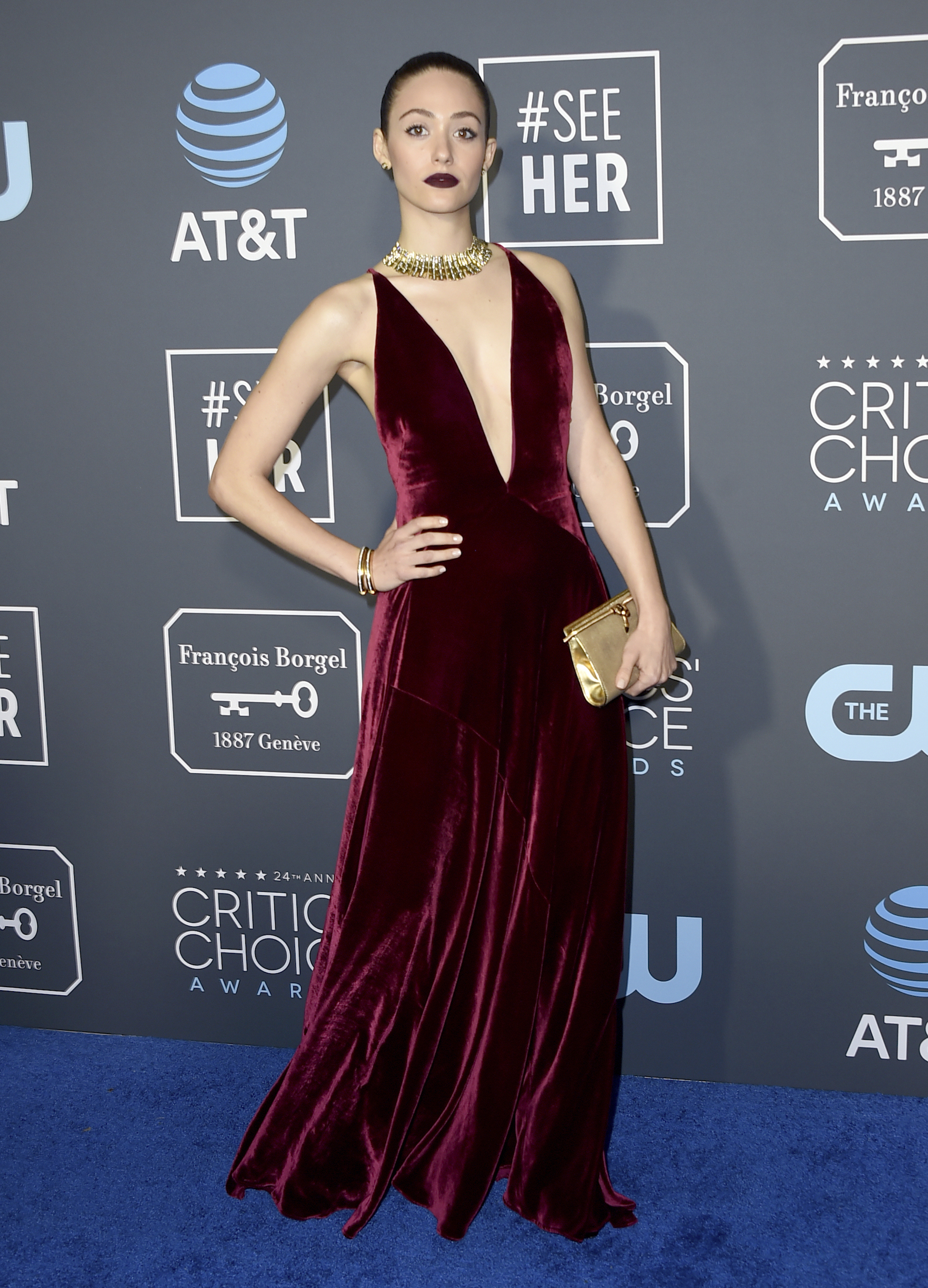 <div class='meta'><div class='origin-logo' data-origin='AP'></div><span class='caption-text' data-credit='Jordan Strauss/Invision/AP'>Emmy Rossum arrives at the 24th annual Critics' Choice Awards on Sunday, Jan. 13, 2019, at the Barker Hangar in Santa Monica, Calif.</span></div>