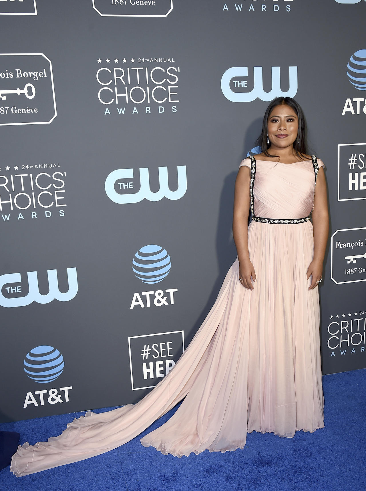 <div class='meta'><div class='origin-logo' data-origin='AP'></div><span class='caption-text' data-credit='Jordan Strauss/Invision/AP'>Yalitza Aparicio arrives at the 24th annual Critics' Choice Awards on Sunday, Jan. 13, 2019, at the Barker Hangar in Santa Monica, Calif.</span></div>