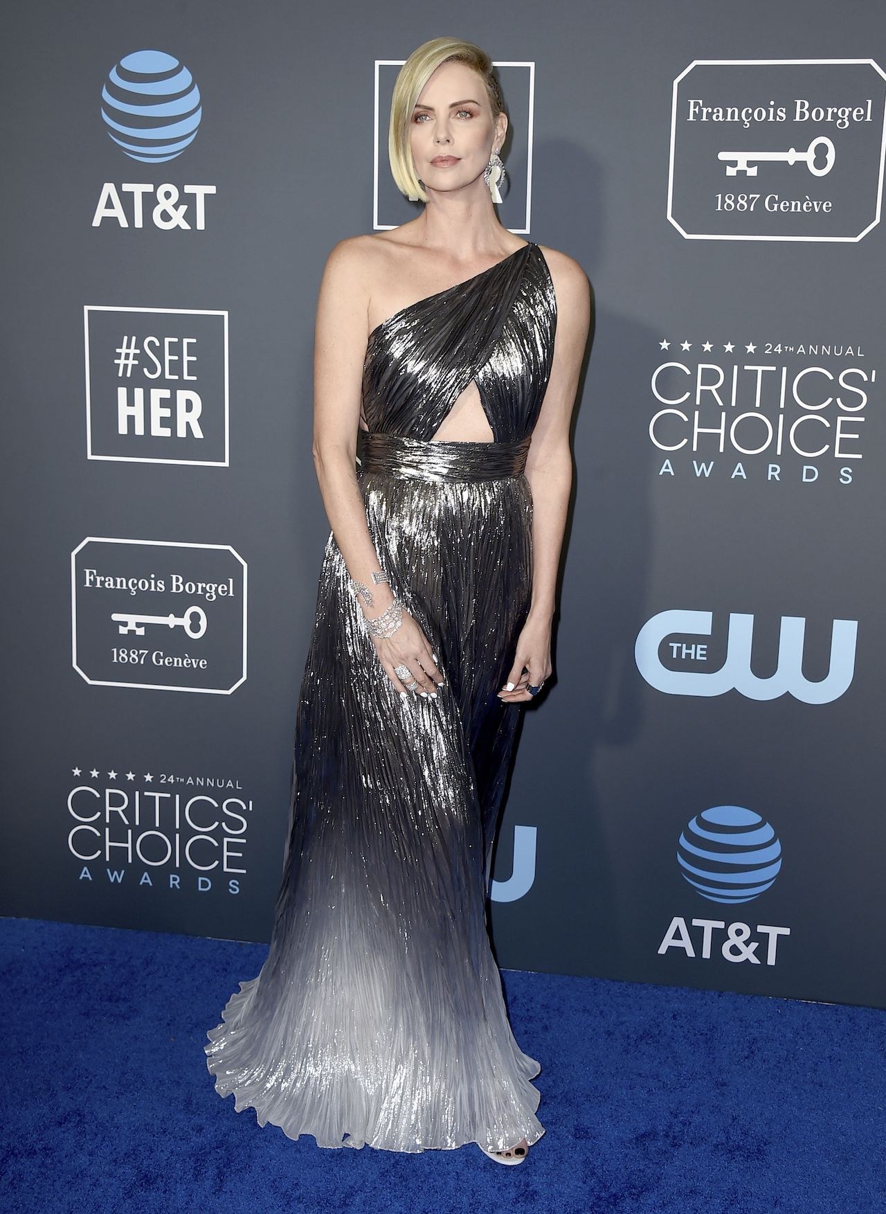 <div class='meta'><div class='origin-logo' data-origin='AP'></div><span class='caption-text' data-credit='Jordan Strauss/Invision/AP'>Charlize Theron arrives at the 24th annual Critics' Choice Awards on Sunday, Jan. 13, 2019, at the Barker Hangar in Santa Monica, Calif.</span></div>
