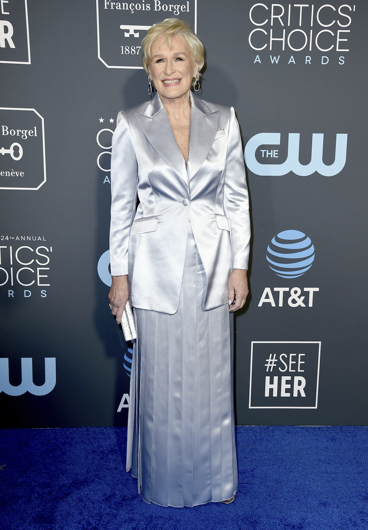 <div class='meta'><div class='origin-logo' data-origin='AP'></div><span class='caption-text' data-credit='Jordan Strauss/Invision/AP'>Glenn Close arrives at the 24th annual Critics' Choice Awards on Sunday, Jan. 13, 2019, at the Barker Hangar in Santa Monica, Calif.</span></div>