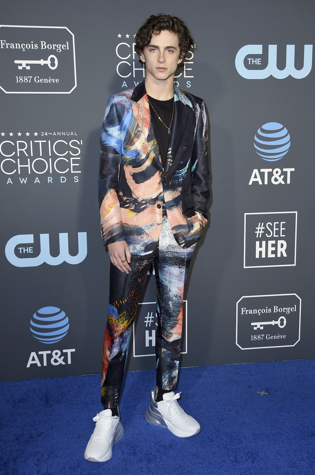 <div class='meta'><div class='origin-logo' data-origin='AP'></div><span class='caption-text' data-credit='Jordan Strauss/Invision/AP'>Timothee Chalamet arrives at the 24th annual Critics' Choice Awards on Sunday, Jan. 13, 2019, at the Barker Hangar in Santa Monica, Calif.</span></div>