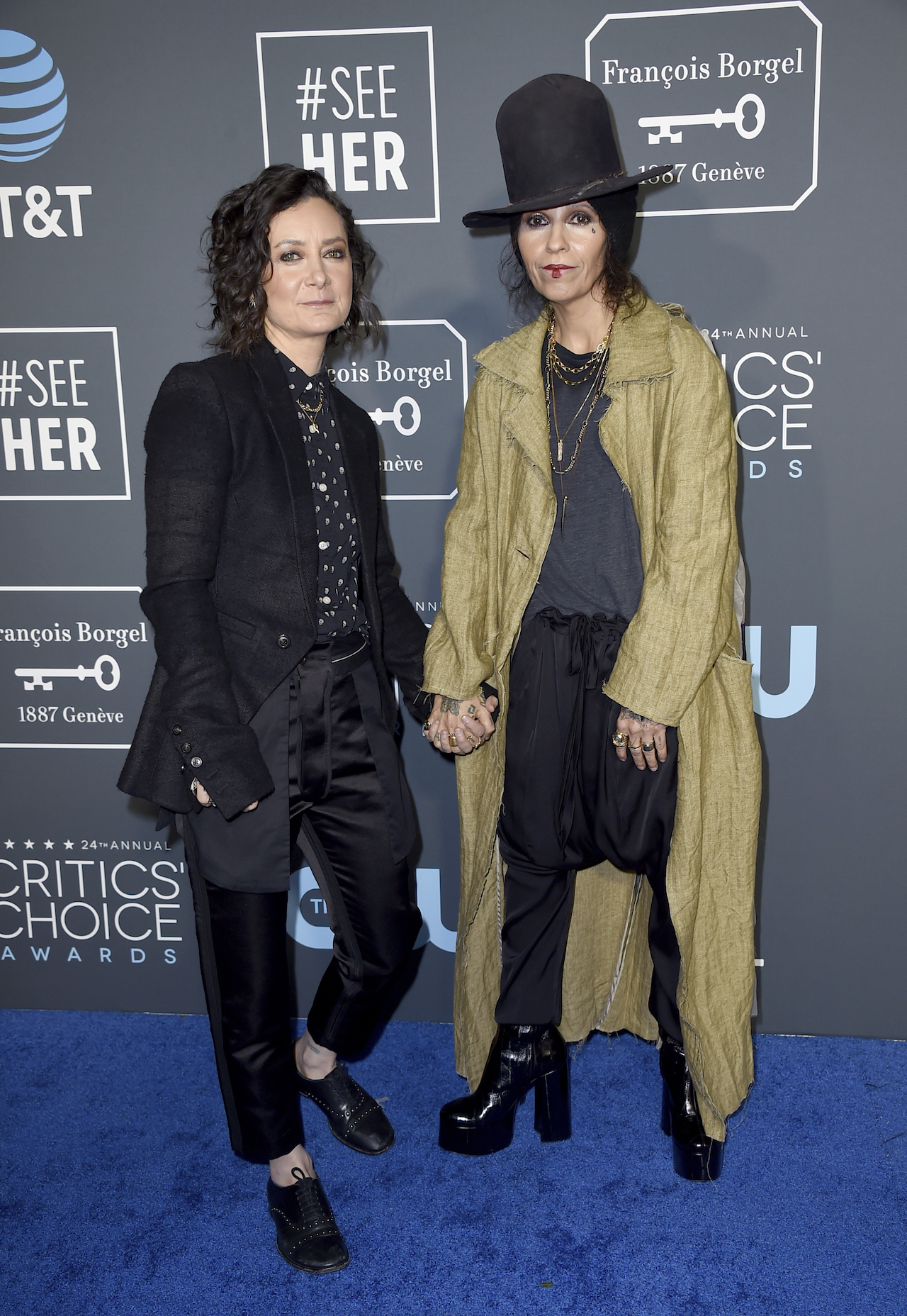 "<div class=""meta image-caption""><div class=""origin-logo origin-image ap""><span>AP</span></div><span class=""caption-text"">Sara Gilbert, left, and Linda Perry arrive at the 24th annual Critics' Choice Awards on Sunday, Jan. 13, 2019, at the Barker Hangar in Santa Monica, Calif. (Jordan Strauss/Invision/AP)</span></div>"