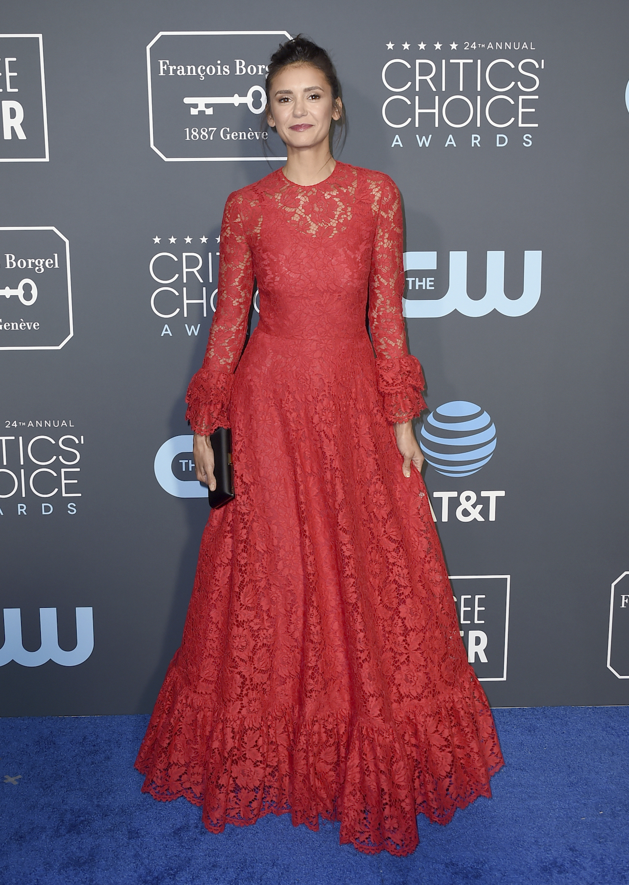 "<div class=""meta image-caption""><div class=""origin-logo origin-image ap""><span>AP</span></div><span class=""caption-text"">Nina Dobrev arrives at the 24th annual Critics' Choice Awards on Sunday, Jan. 13, 2019, at the Barker Hangar in Santa Monica, Calif. (Jordan Strauss/Invision/AP)</span></div>"