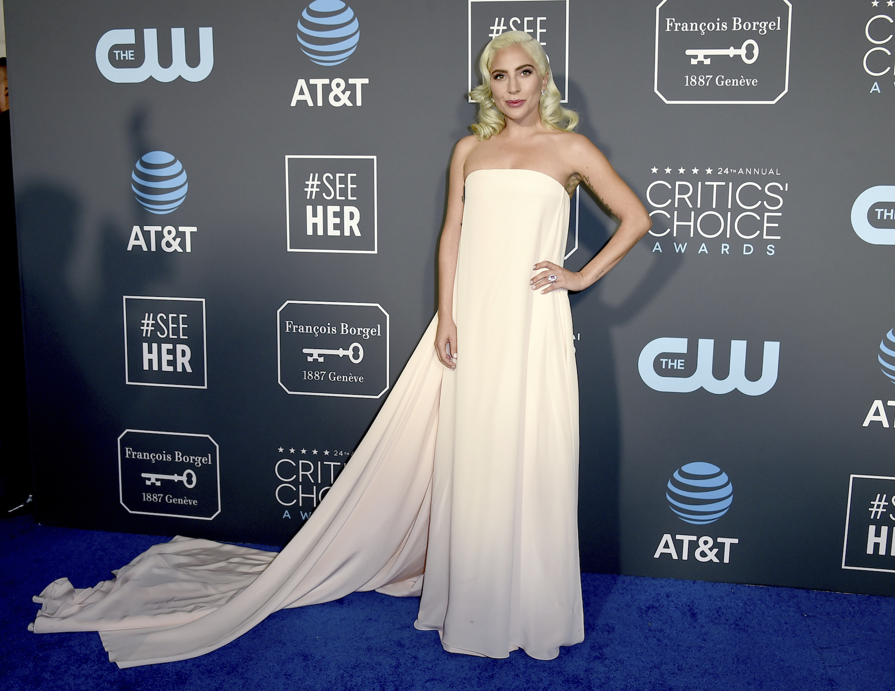<div class='meta'><div class='origin-logo' data-origin='AP'></div><span class='caption-text' data-credit='Jordan Strauss/Invision/AP'>Lady Gaga arrives at the 24th annual Critics' Choice Awards on Sunday, Jan. 13, 2019, at the Barker Hangar in Santa Monica, Calif.</span></div>
