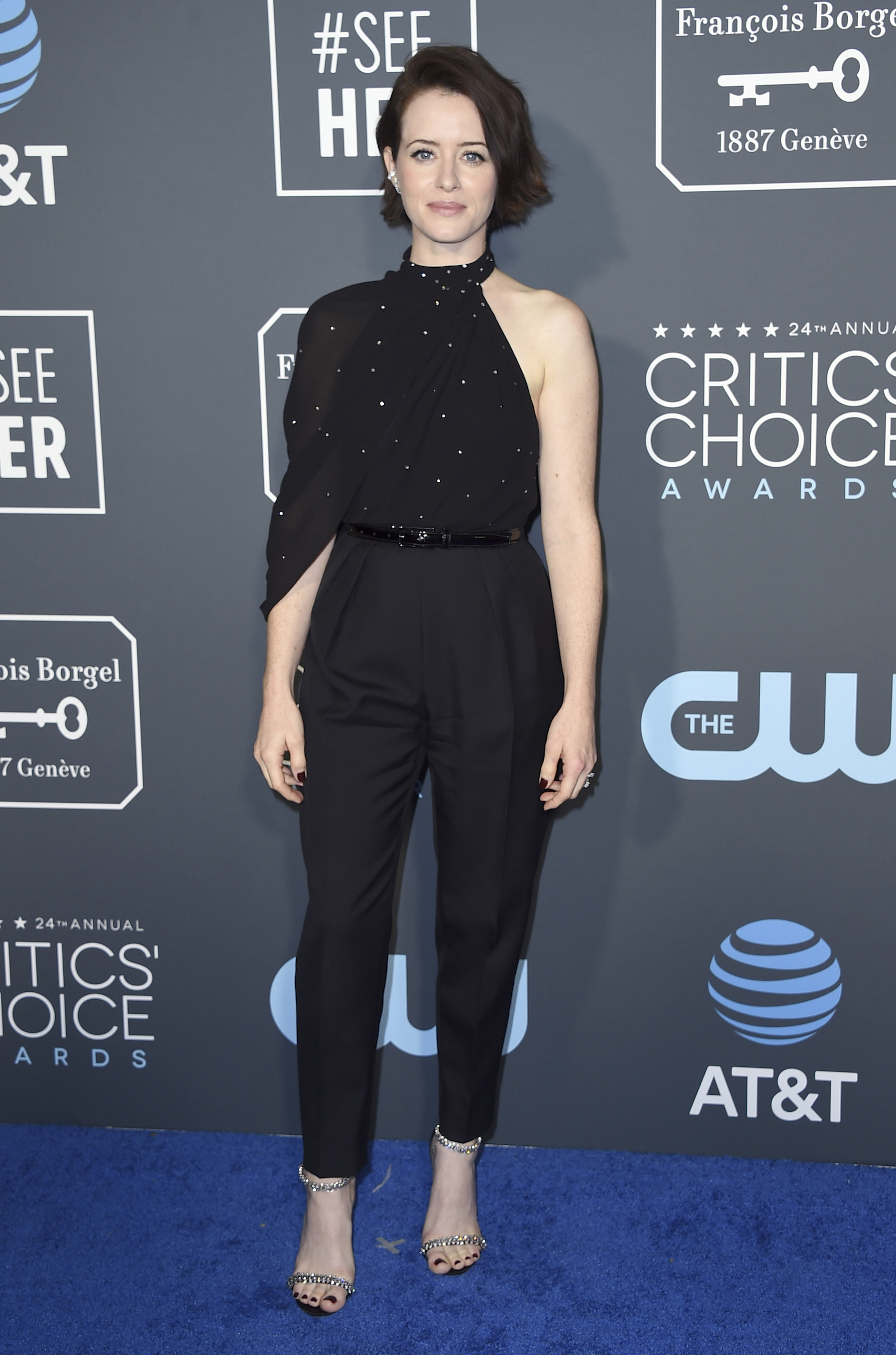 "<div class=""meta image-caption""><div class=""origin-logo origin-image ap""><span>AP</span></div><span class=""caption-text"">Claire Foy arrives at the 24th annual Critics' Choice Awards on Sunday, Jan. 13, 2019, at the Barker Hangar in Santa Monica, Calif. (Jordan Strauss/Invision/AP)</span></div>"