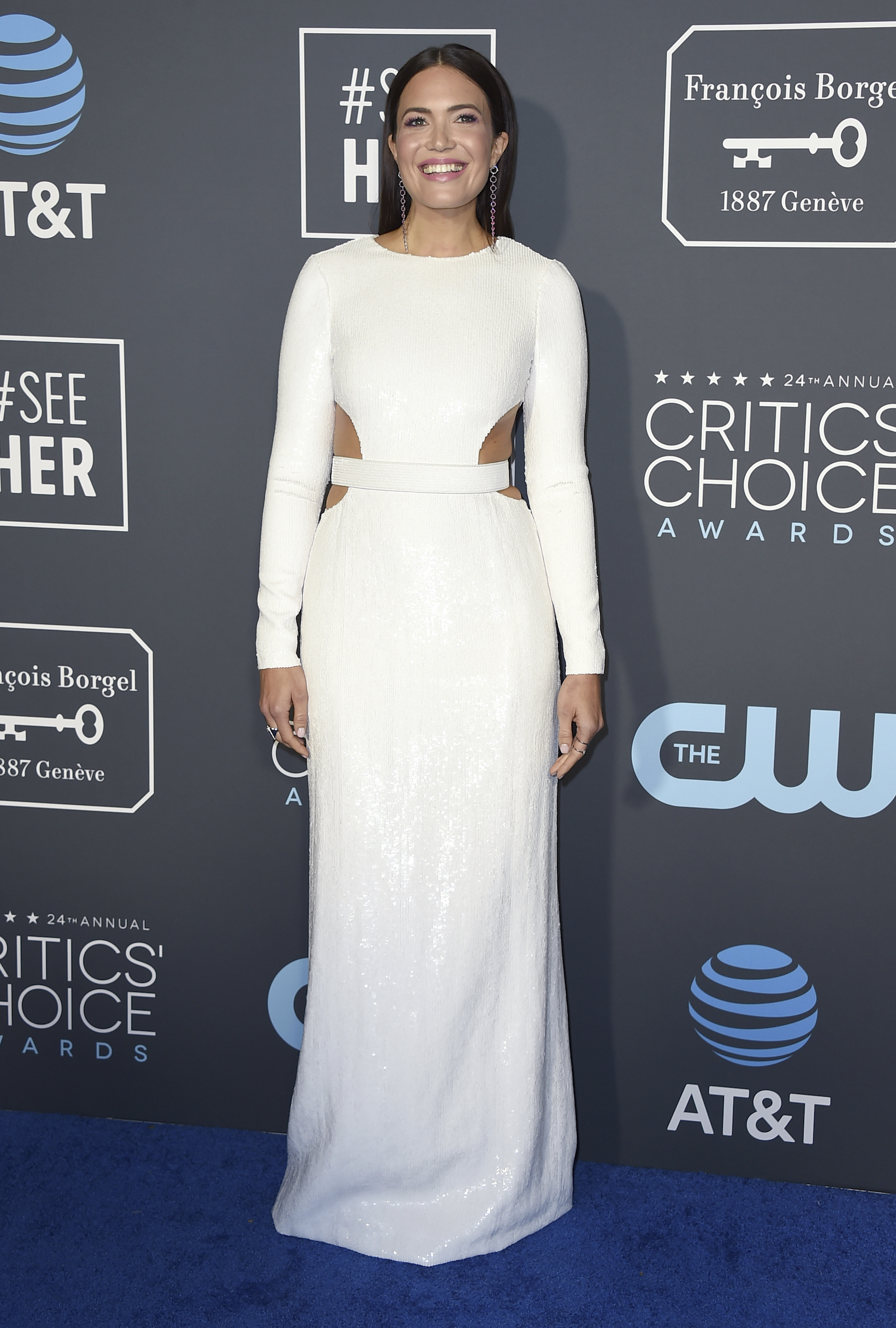 "<div class=""meta image-caption""><div class=""origin-logo origin-image ap""><span>AP</span></div><span class=""caption-text"">Mandy Moore arrives at the 24th annual Critics' Choice Awards on Sunday, Jan. 13, 2019, at the Barker Hangar in Santa Monica, Calif. (Jordan Strauss/Invision/AP)</span></div>"