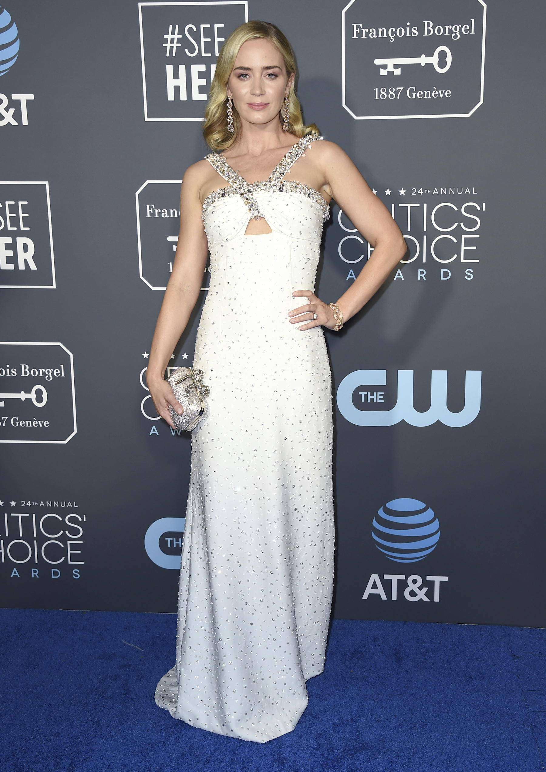 <div class='meta'><div class='origin-logo' data-origin='AP'></div><span class='caption-text' data-credit='Jordan Strauss/Invision/AP'>Emily Blunt arrives at the 24th annual Critics' Choice Awards on Sunday, Jan. 13, 2019, at the Barker Hangar in Santa Monica, Calif.</span></div>